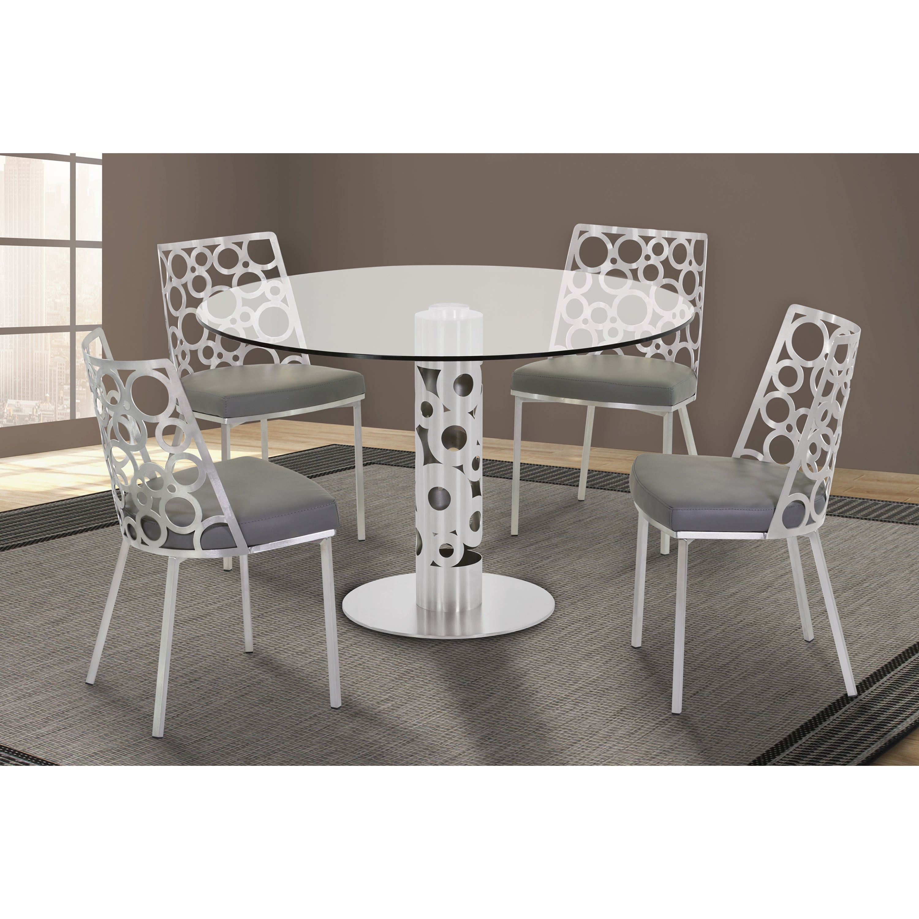 ee03656b3fd8 Armen Living Berlin Round Dining Table in Brushed Stainless Steel and 48-inch  Glass Top