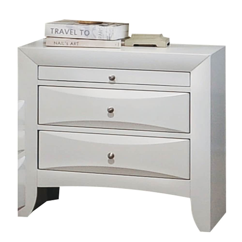 Shop acme furniture ireland white rubberwood 2 drawer nightstand with pull out tray free shipping today overstock com 13212430