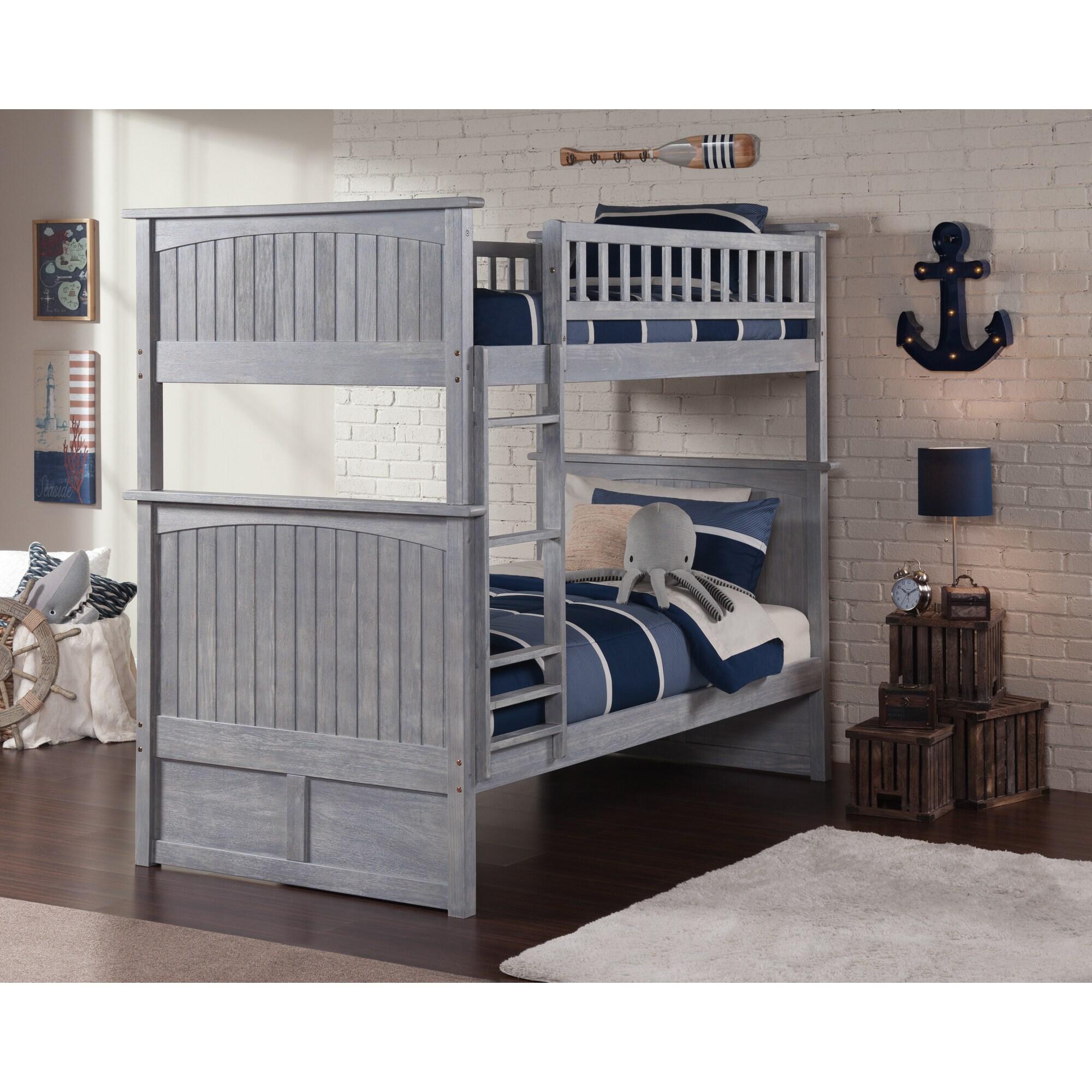 Shop Atlantic Nantucket Driftwood Washed Grey Wood Twin Bunk Bed