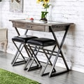 Furniture of America Garrin Industrial Rustic Wine Storage Bar Table