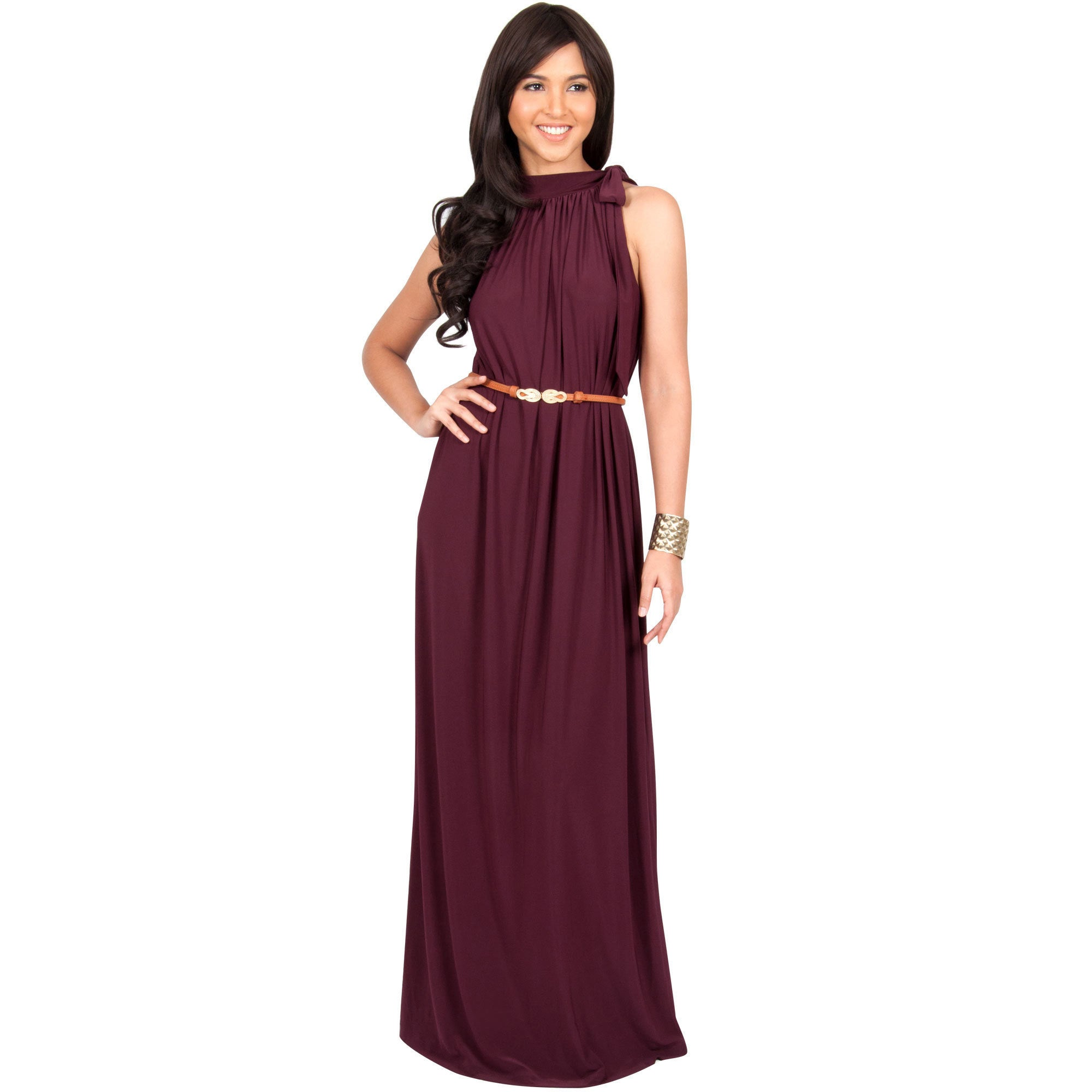 Shop KOH KOH Womens Long Prom Formal Evening Bridesmaid Belted ...