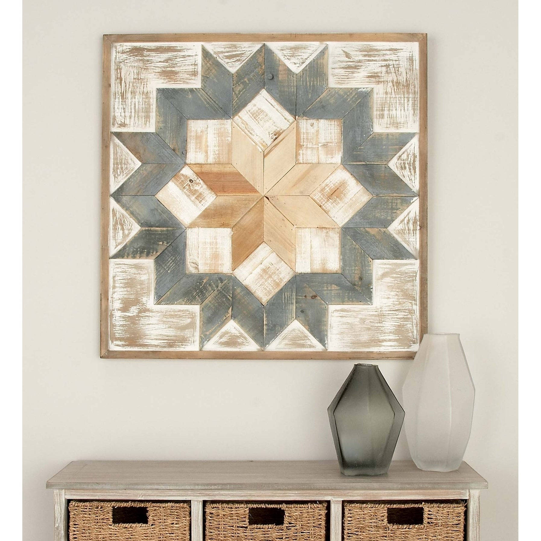 Farmhouse 31 X 31 Inch Geometric Wooden Wall Art By Studio 350 Green Brown White