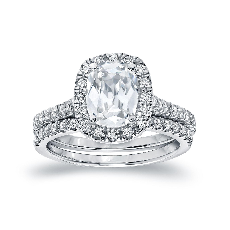 Auriya 2ctw Cushion Cut Diamond Halo Engagement Ring Set 14k Gold Certified