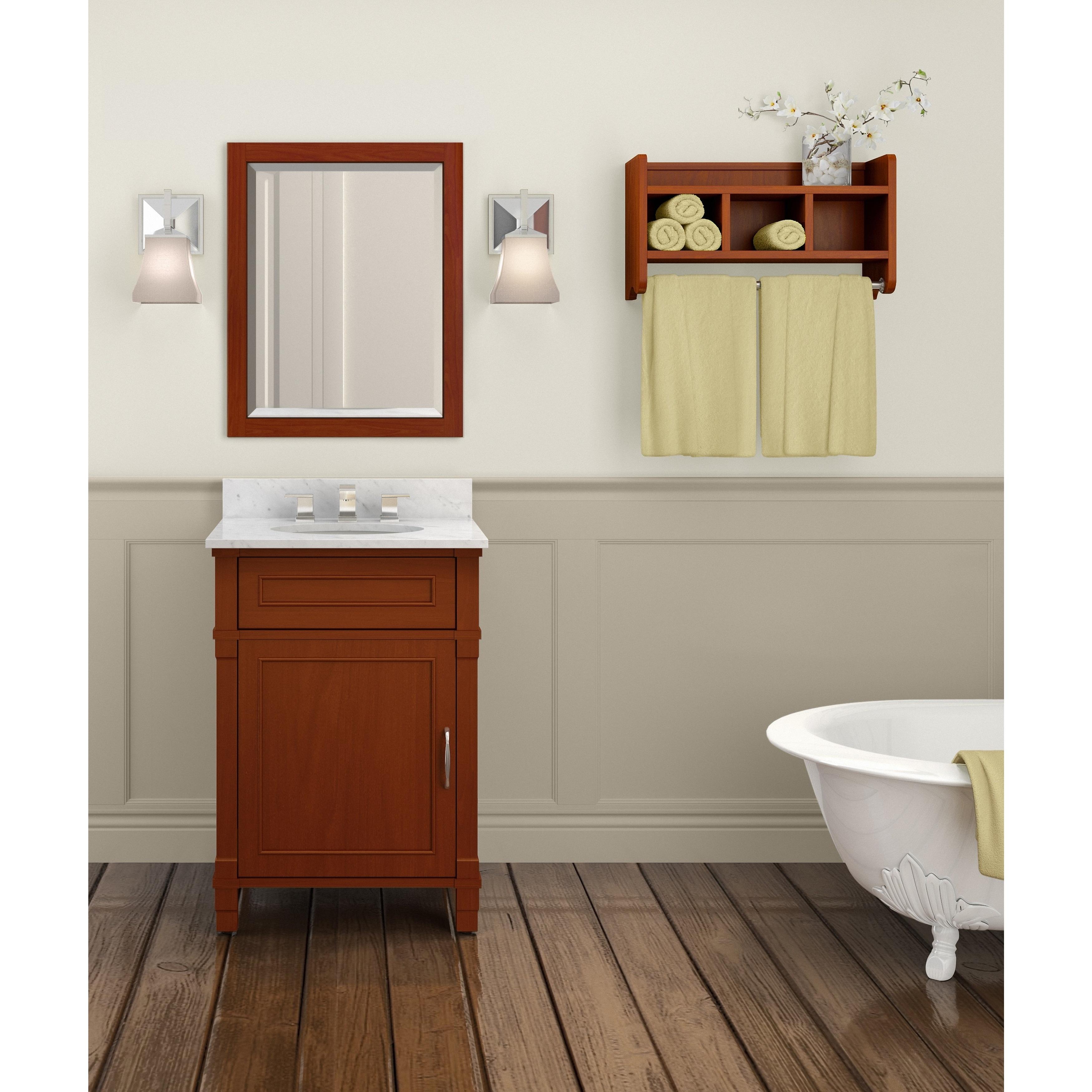 Alaterre 25-inch Wood Bath Storage Shelf with Towel Rod - Free ...