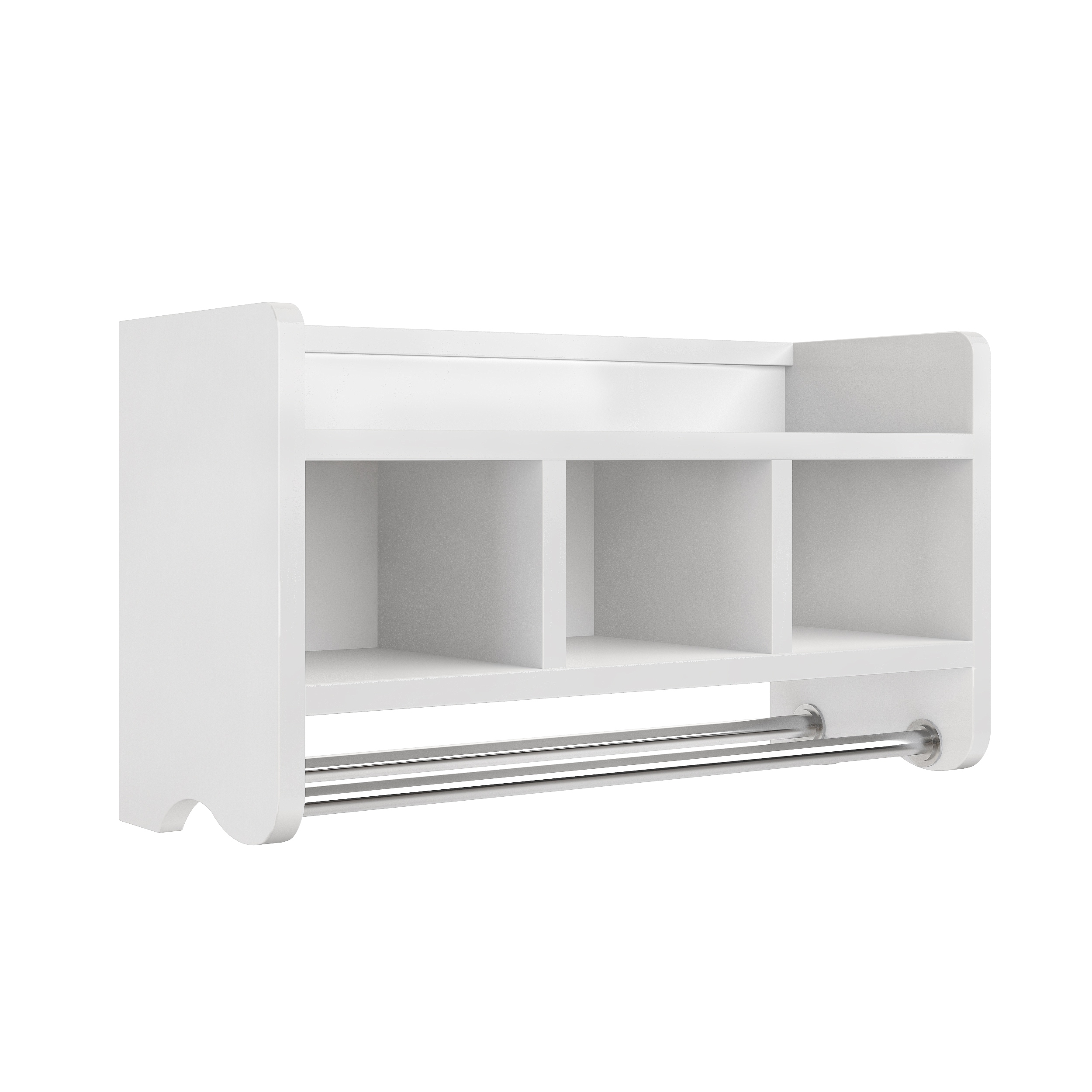 Shop Alaterre 25 Inch Wood Bath Storage Shelf With Towel Rod   Free  Shipping Today   Overstock.com   13223165