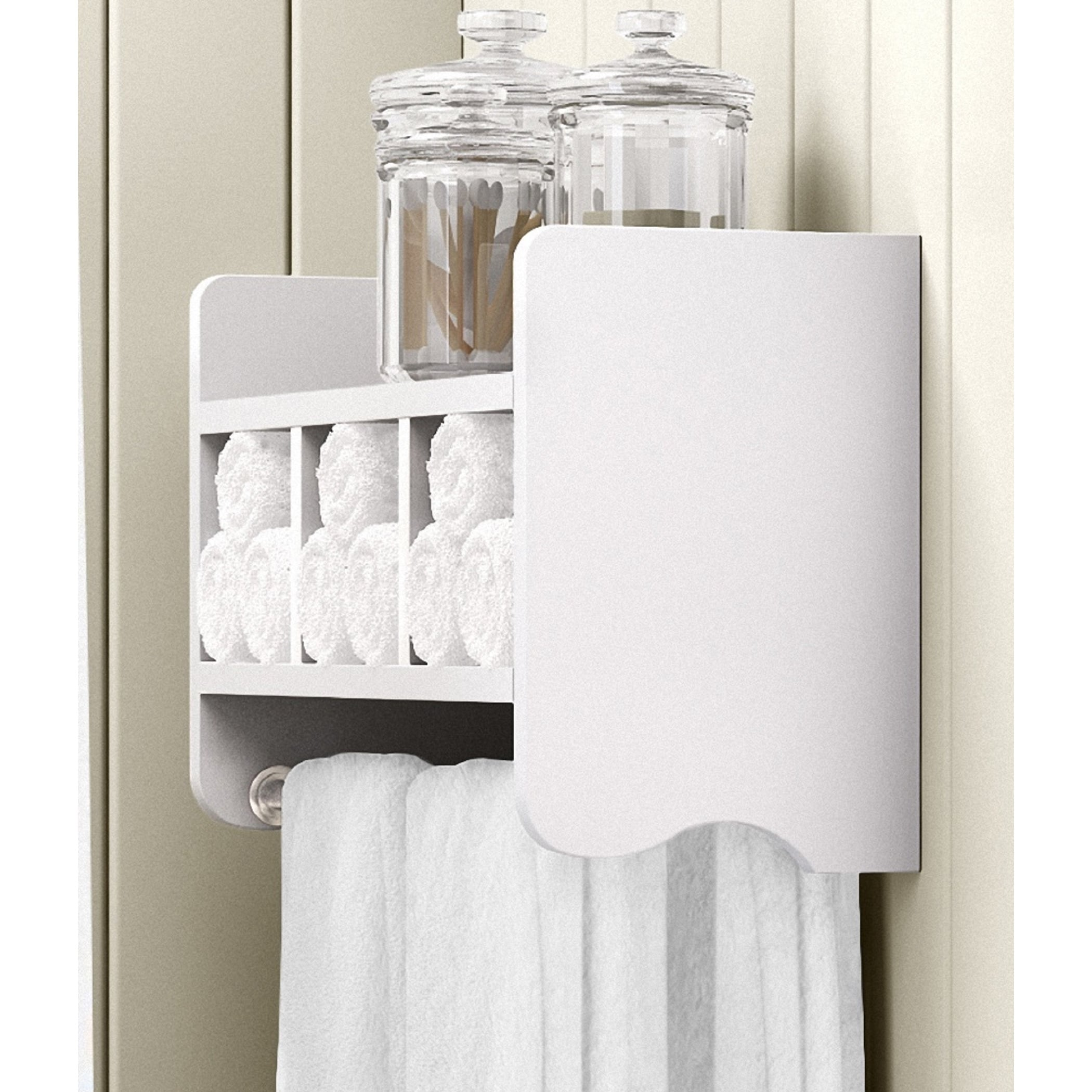 Shop Alaterre 25 Inch Wood Bath Storage Shelf With Towel Rod   On Sale    Free Shipping Today   Overstock.com   13223165
