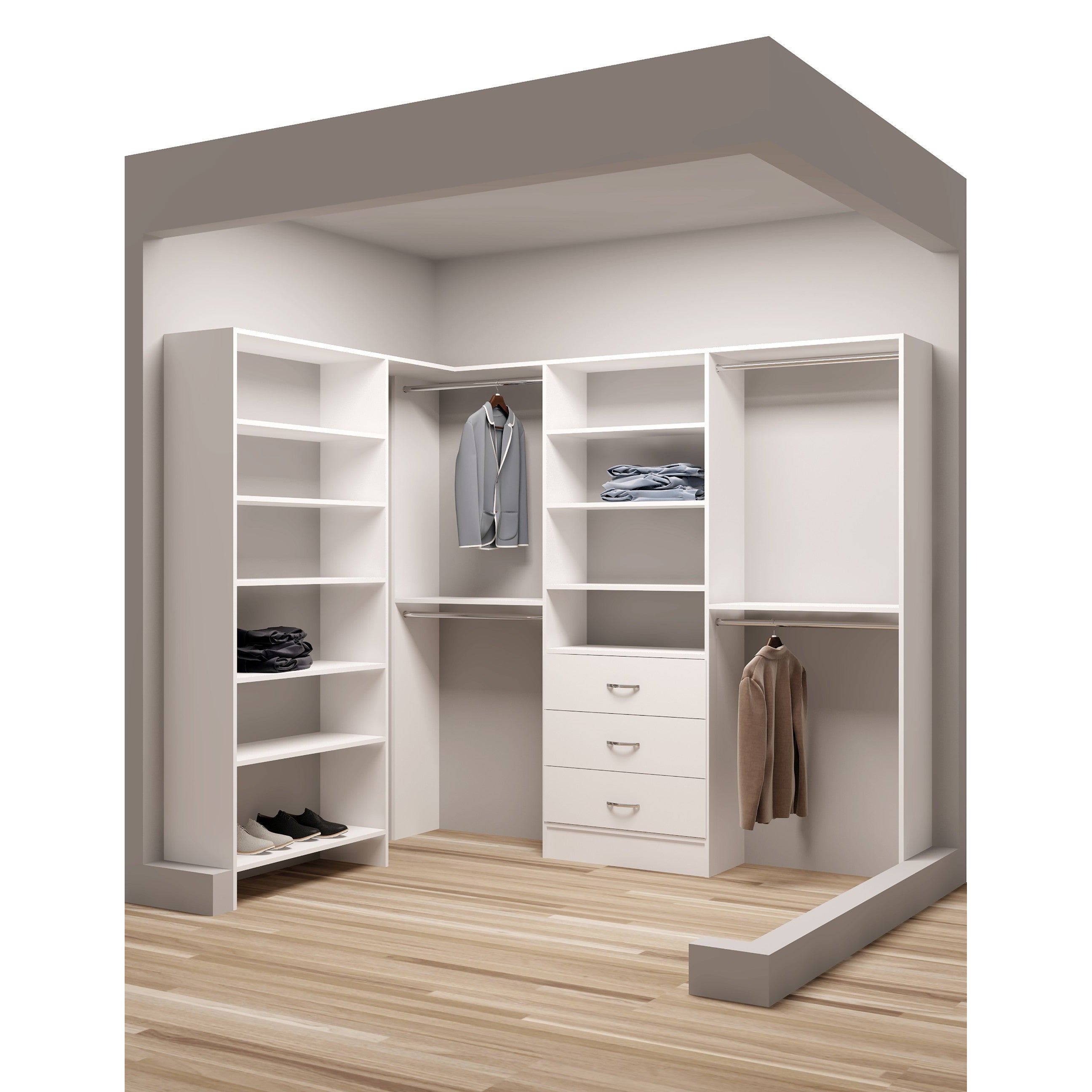 Tidysquares White Wood 67 X 93 Walk In Closet System