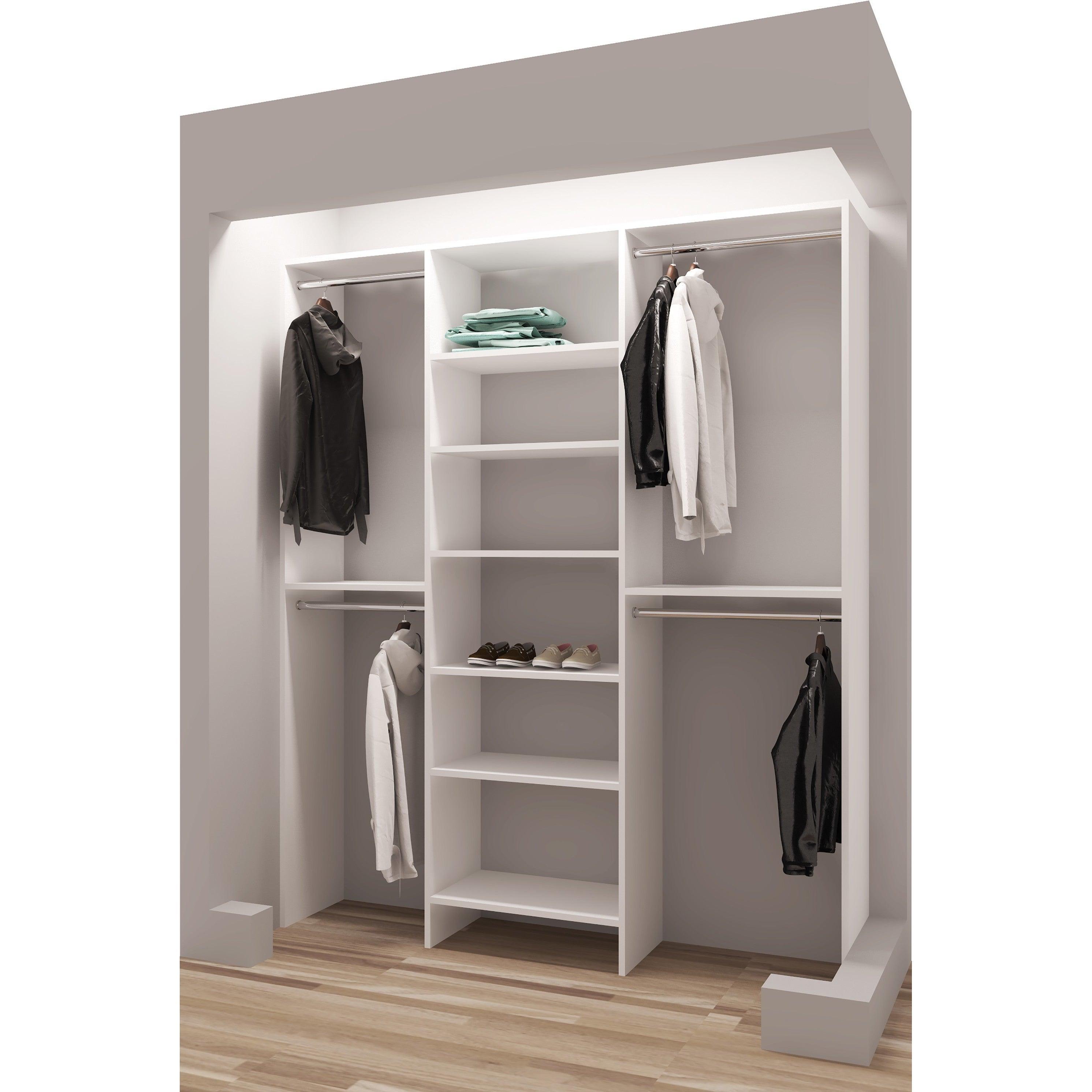 Tidysquares White Wood 63 Reach In Closet Organizer Free Shipping Today 13223496