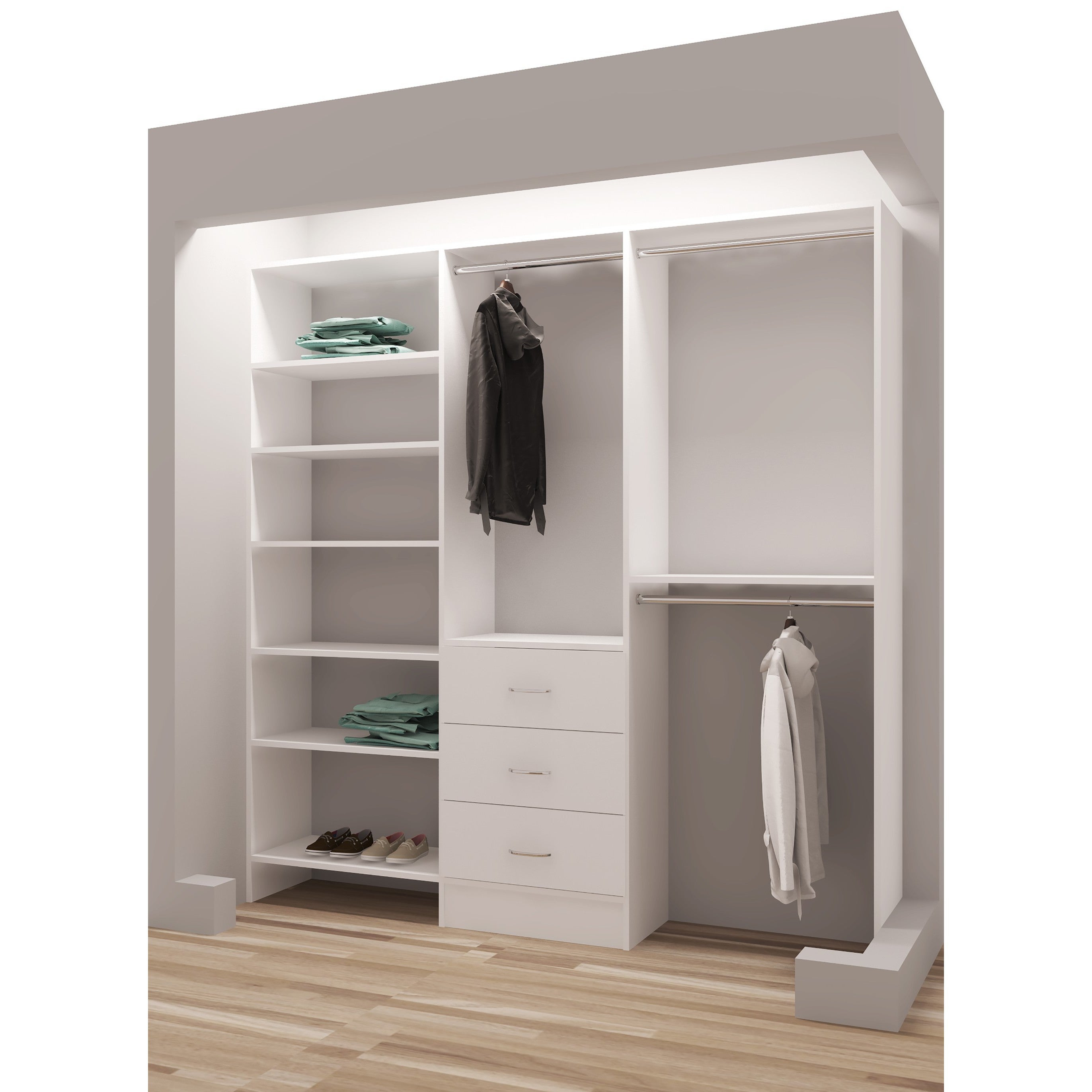Shop TidySquares Classic White Wood 75 Inch Reach In Closet Organizer    Free Shipping Today   Overstock.com   13223506