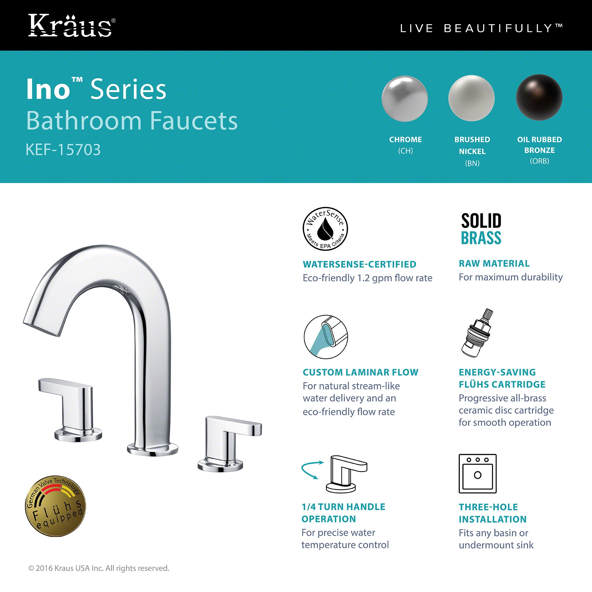 Shop KRAUS Ino™ Two Handle 8 Inch Widespread Bathroom Faucet with ...