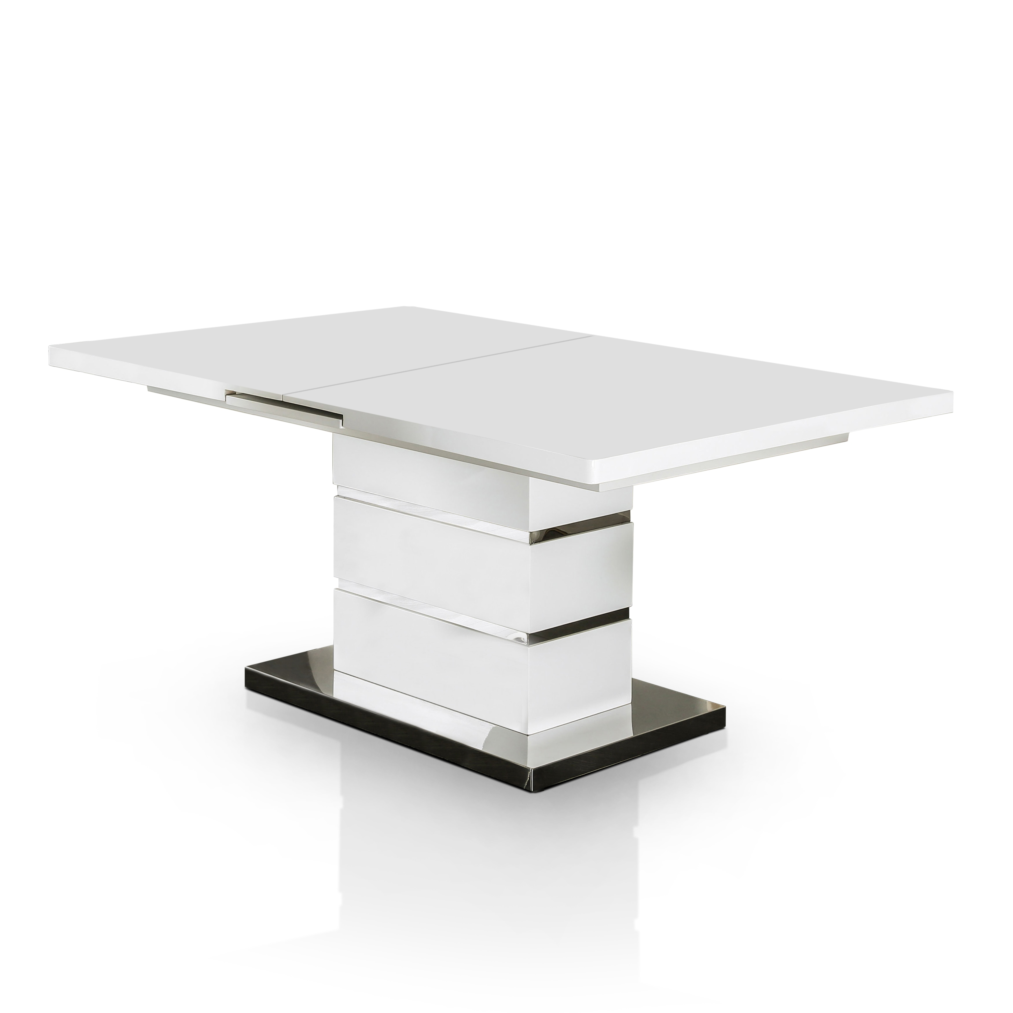Furniture Of America Novas Contemporary Glossy White Dining Table With  14 Inch Butterfly Leaf   Free Shipping Today   Overstock.com   19941449