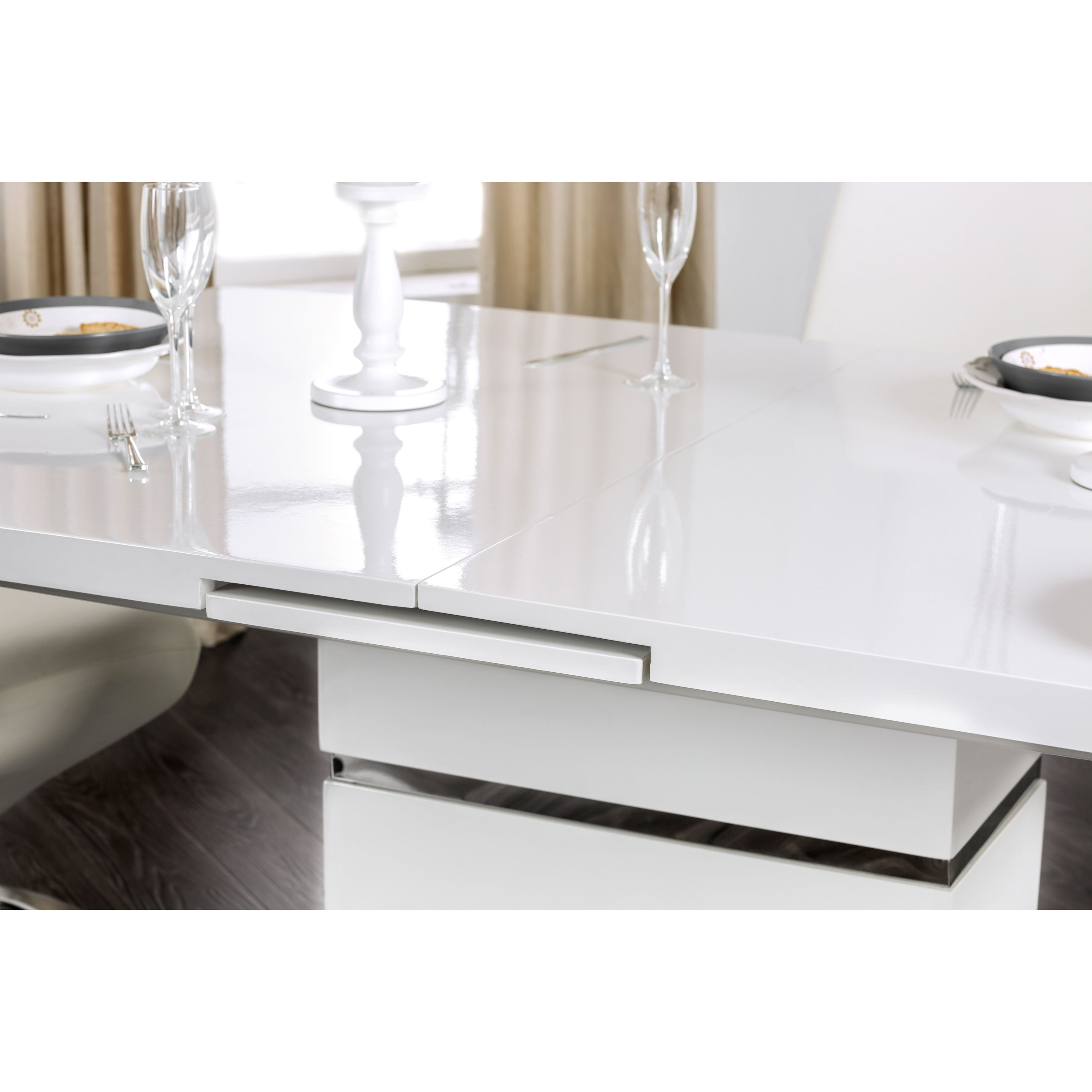 Furniture Of America Novas Contemporary Glossy White Dining Table With 14 Inch Erfly Leaf On Free Shipping Today