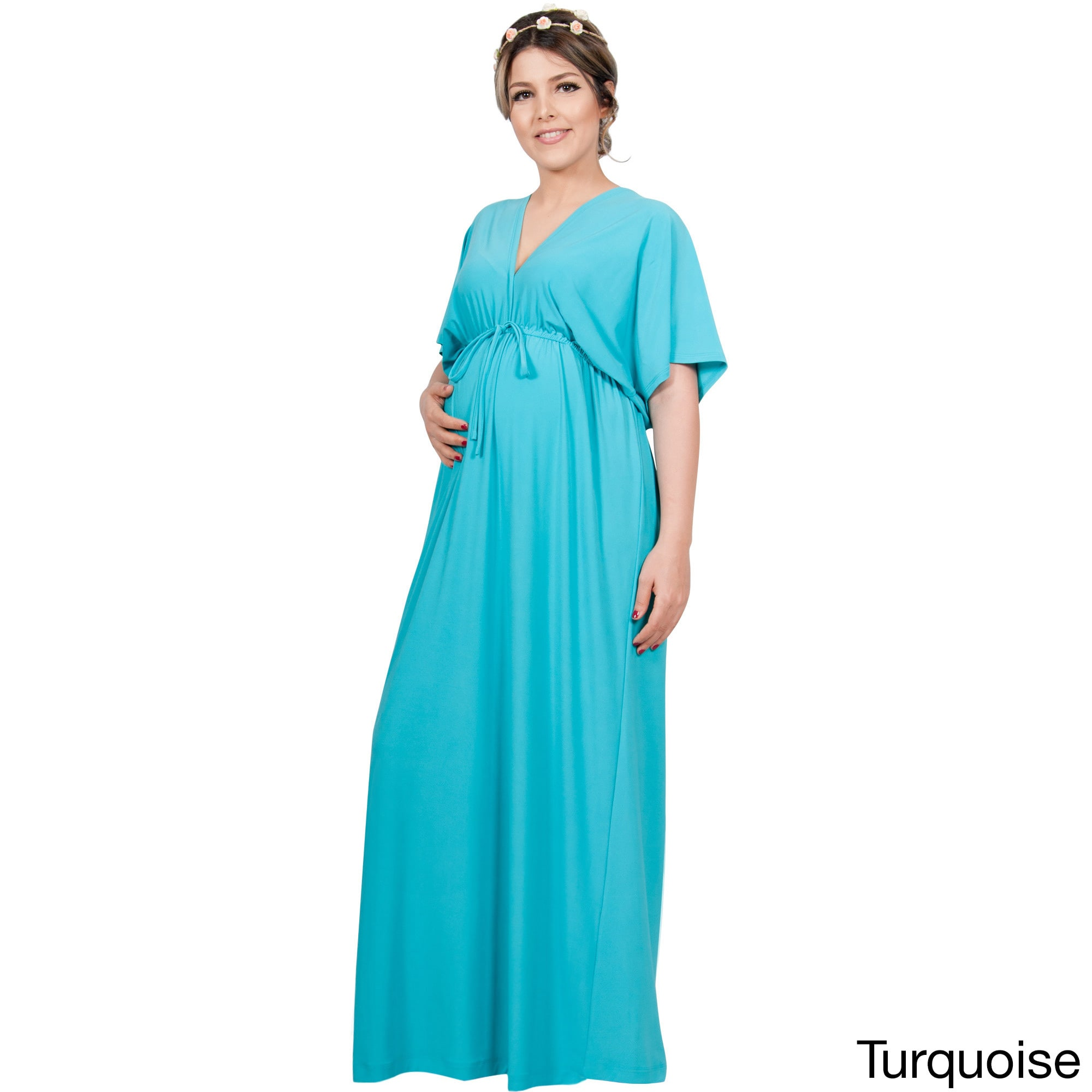 Koh Koh Women\'s Polyester and Spandex Long Maternity Maxi Dress ...