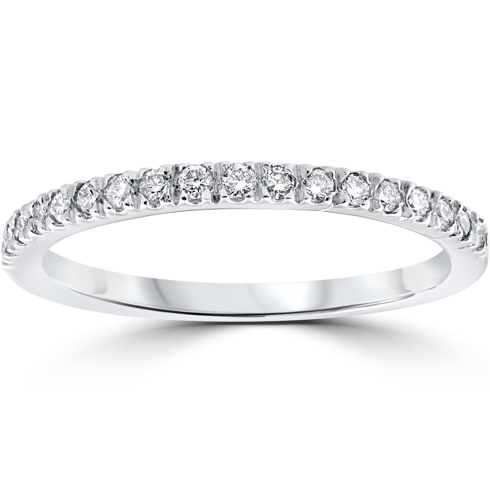 Shop 14k White Gold 1 3 Ct Tdw Pave Diamond Stackable Wedding Ring