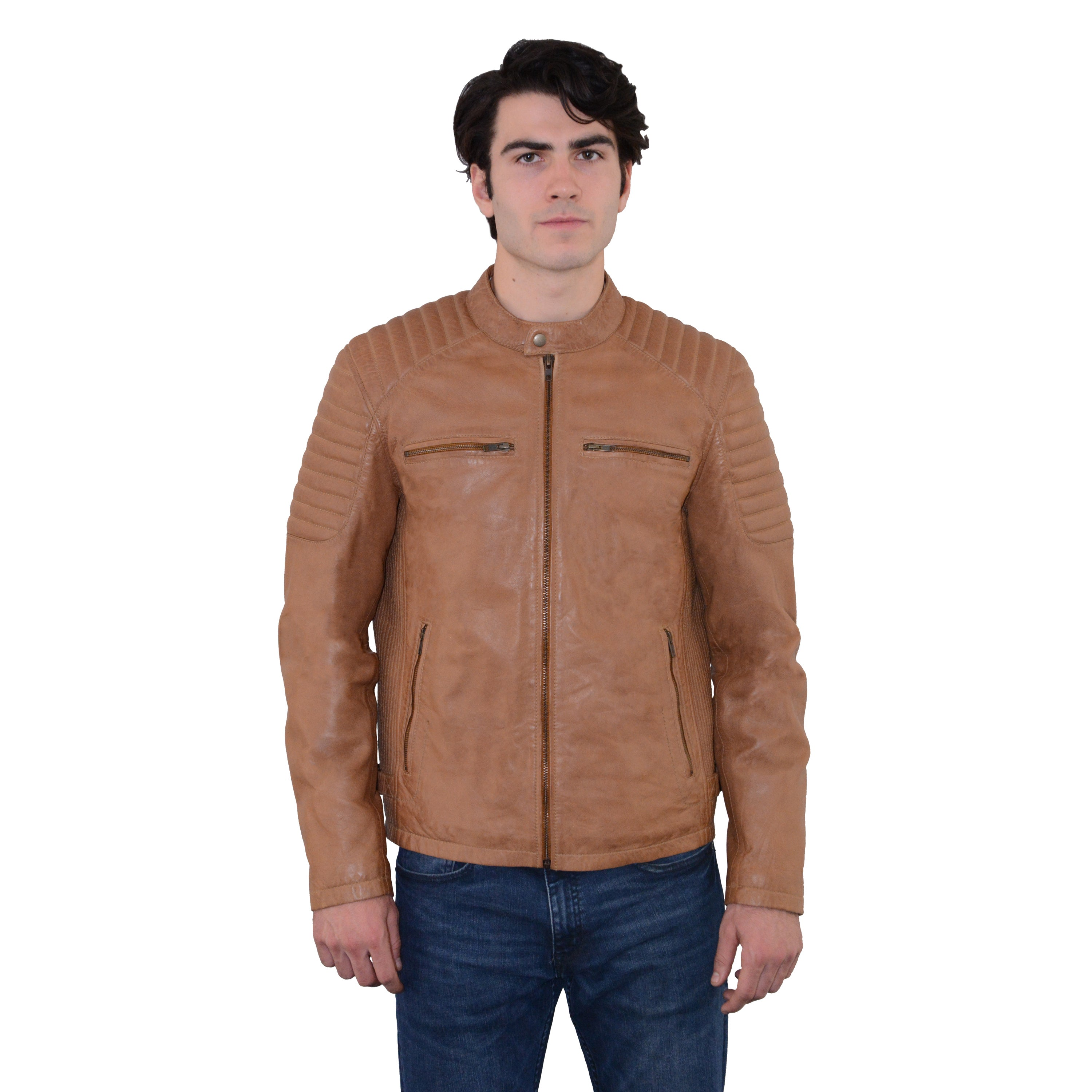 Shop Mens Leather Snap Collar Jacket With Quilted Shoulders Free
