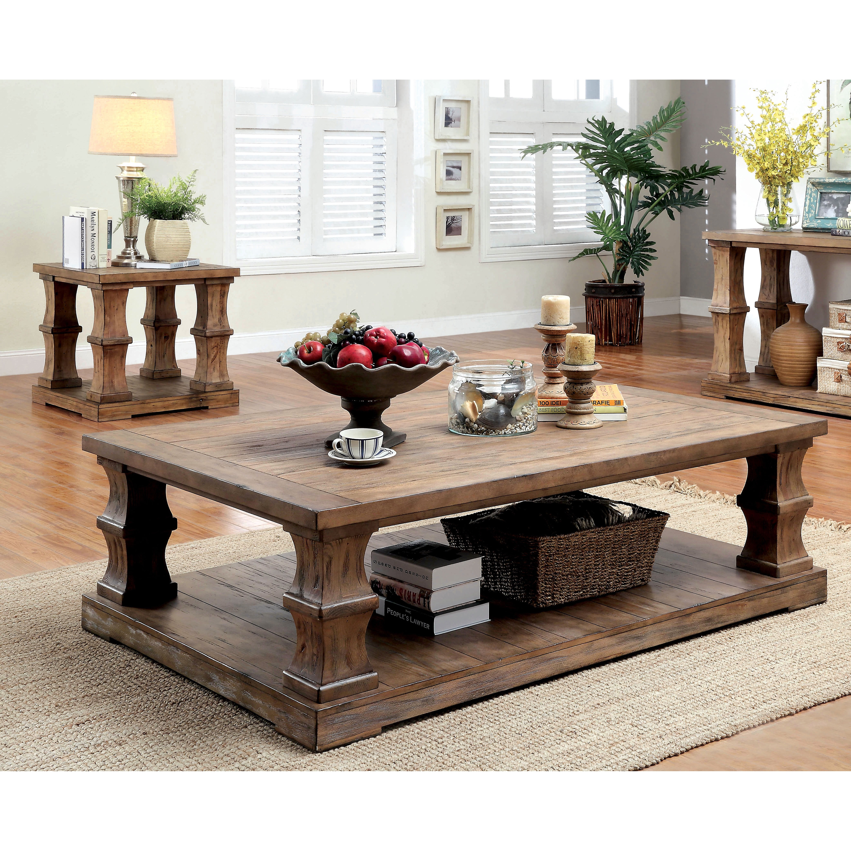 Furniture Of America Temecula I Shabby Chic 2 Piece Natural Tone Distressed  Coffee And End Table Set   Free Shipping Today   Overstock   19944880