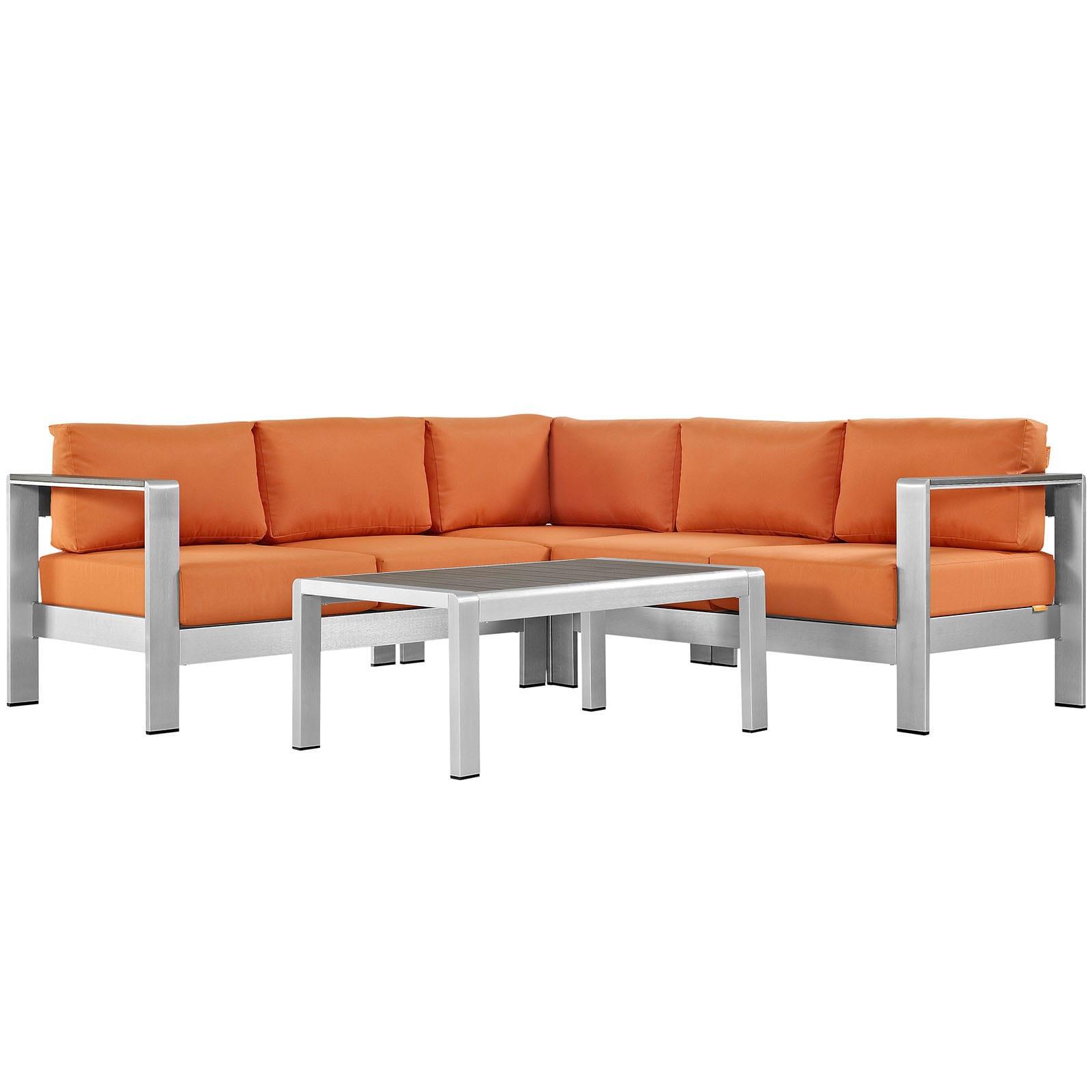 Shore 4 Piece Outdoor Patio Aluminum Sectional Sofa Set Free