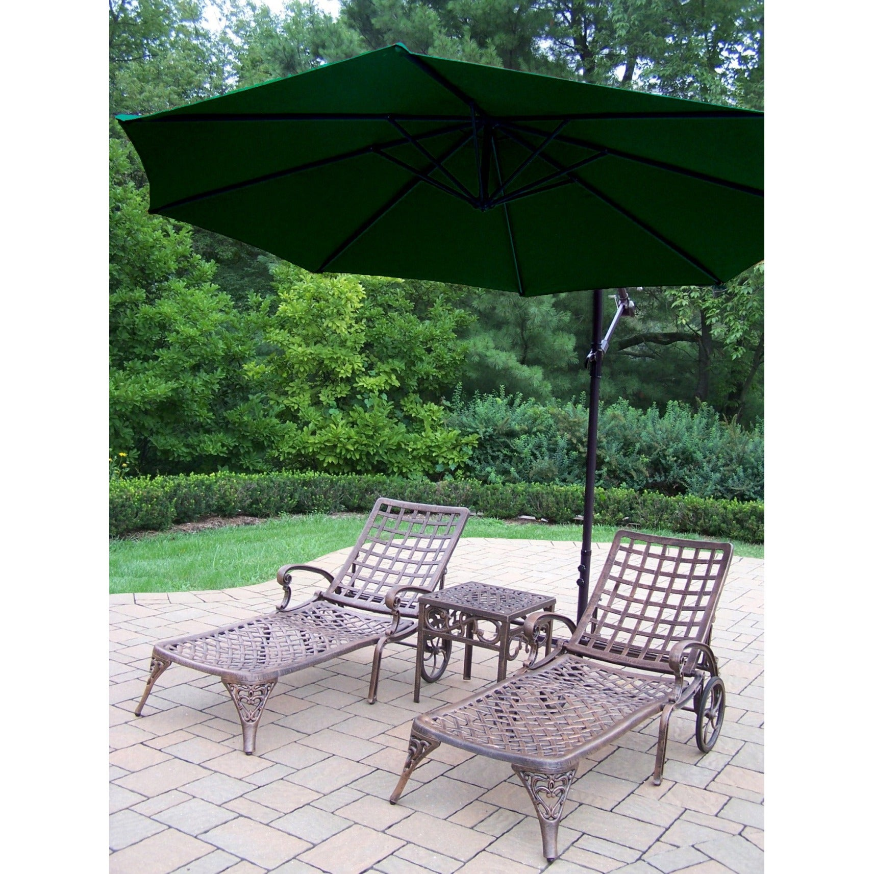 Merit 4 piece Cast Aluminum Green Umbrella Patio Lounge Set Free