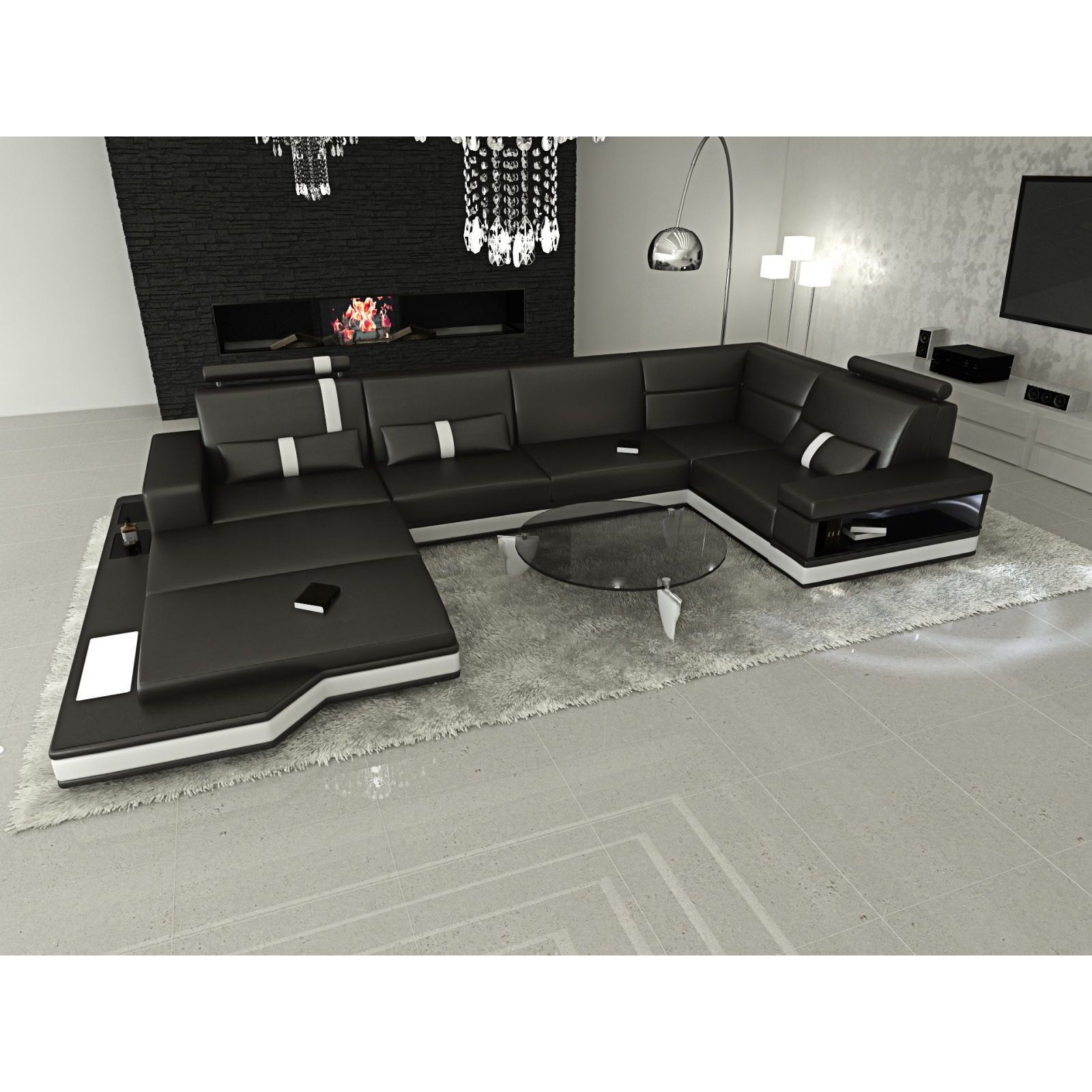 Design Modern Los Angeles Black U Shaped Sectional Sofa Free Shipping Today 13231737