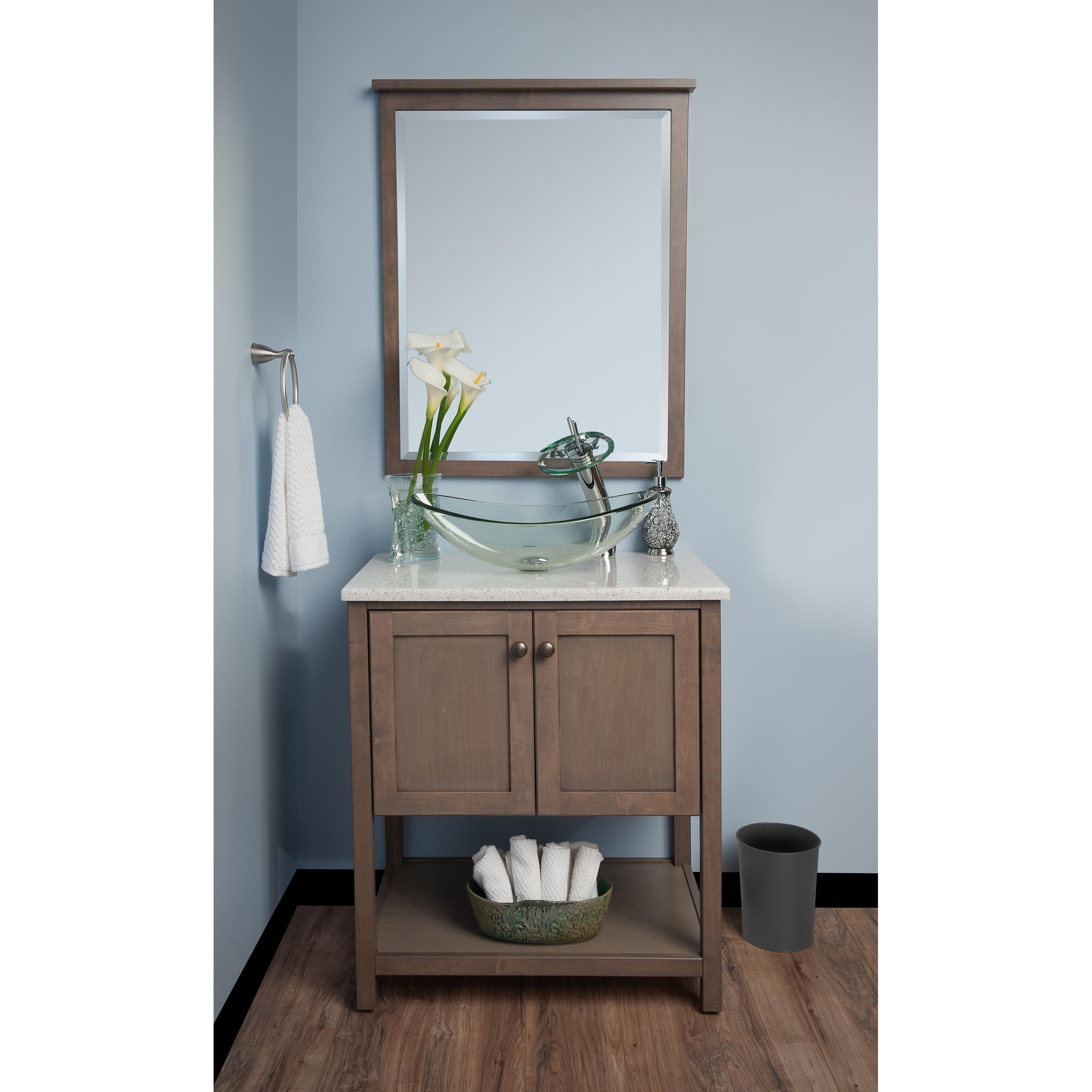 Shop Novatto Chiaro Glass Vessel Bathroom Sink Set, Chrome/ Clear ...