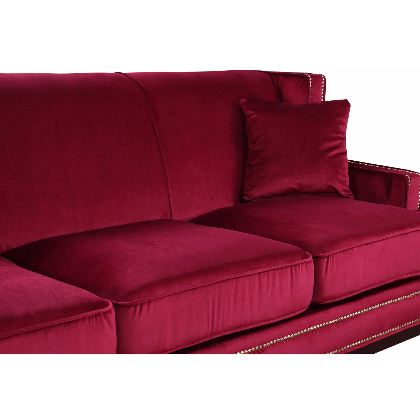 Shop Modern Soft Velvet Sofa With Nailhead Trim Details   Free Shipping  Today   Overstock.com   13232426