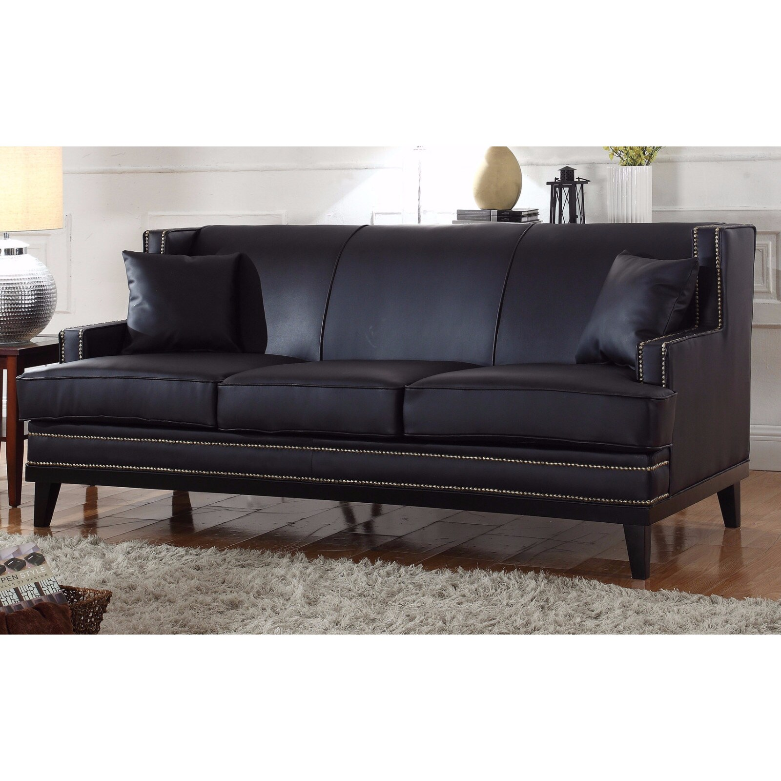 Modern Soft Bonded Leather Sofa With Nailhead Trim Details Free Shipping Today 13232427