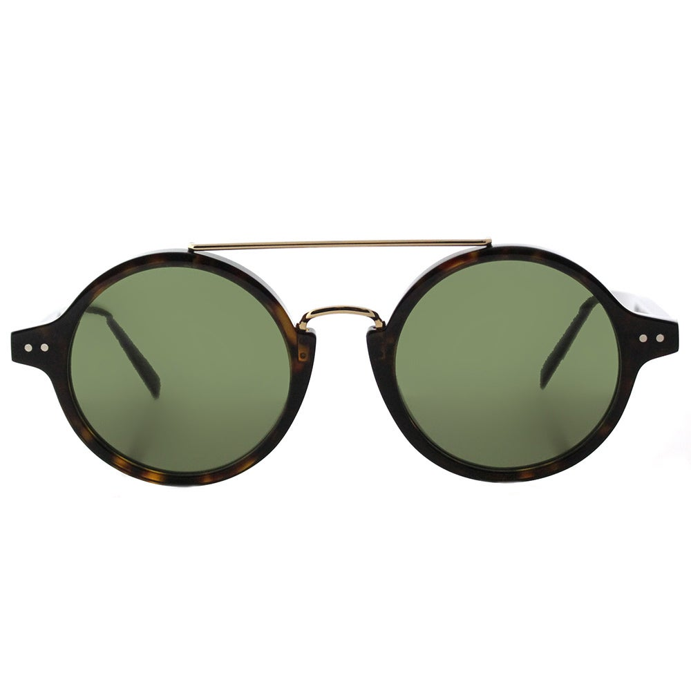 4720f9313e137 Shop Celine CL 41436 086 Thin Ella Dark Havana Gold Plastic Round Green  Lens Sunglasses - Free Shipping Today - Overstock - 13250585