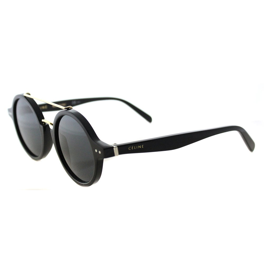 df33a363982 Celine CL 41436 807 Thin Ella Black Gold Plastic Round Grey Blue Lens  Sunglasses