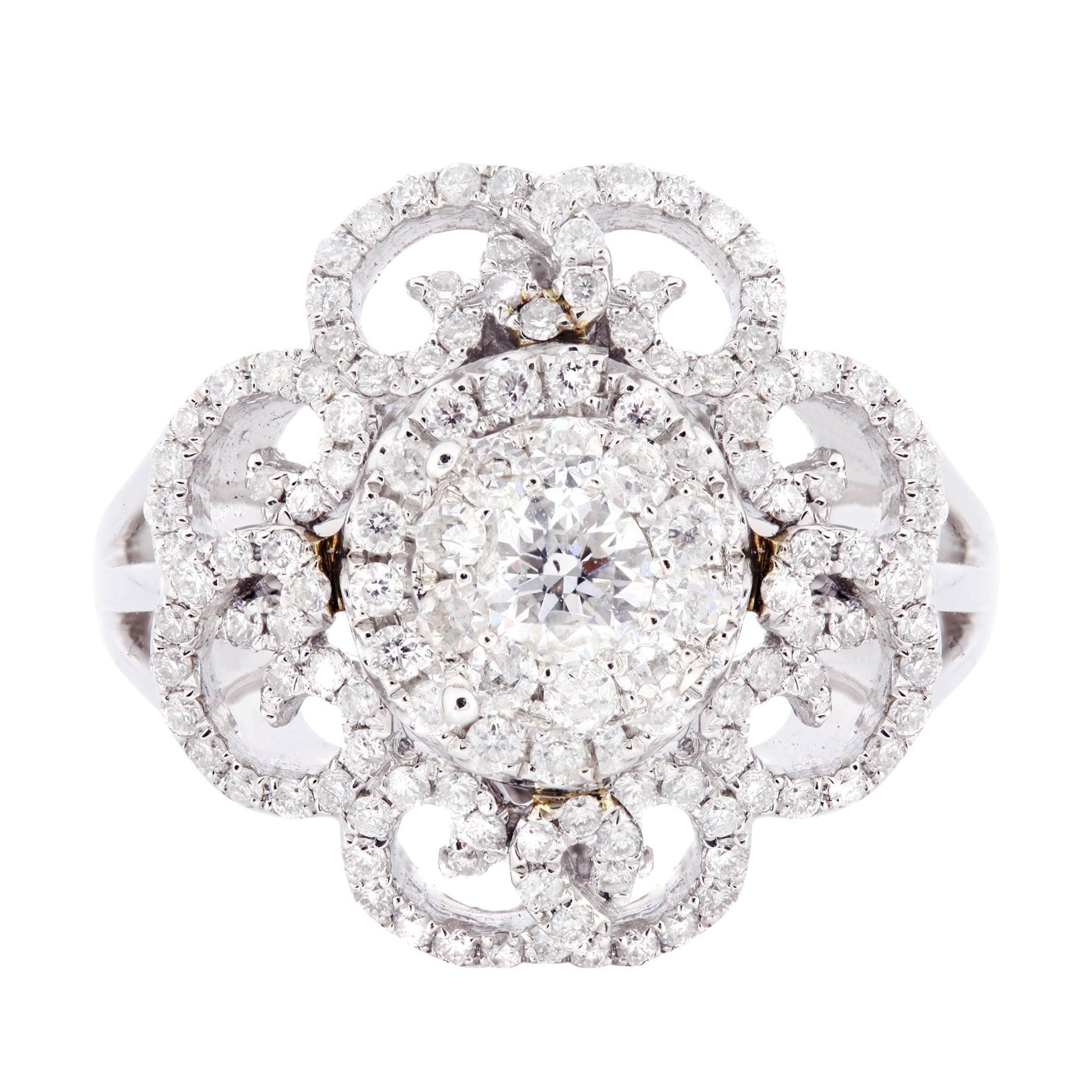 Shop 14k White Gold 78ct Tdw Flower Diamond Ring Free Shipping