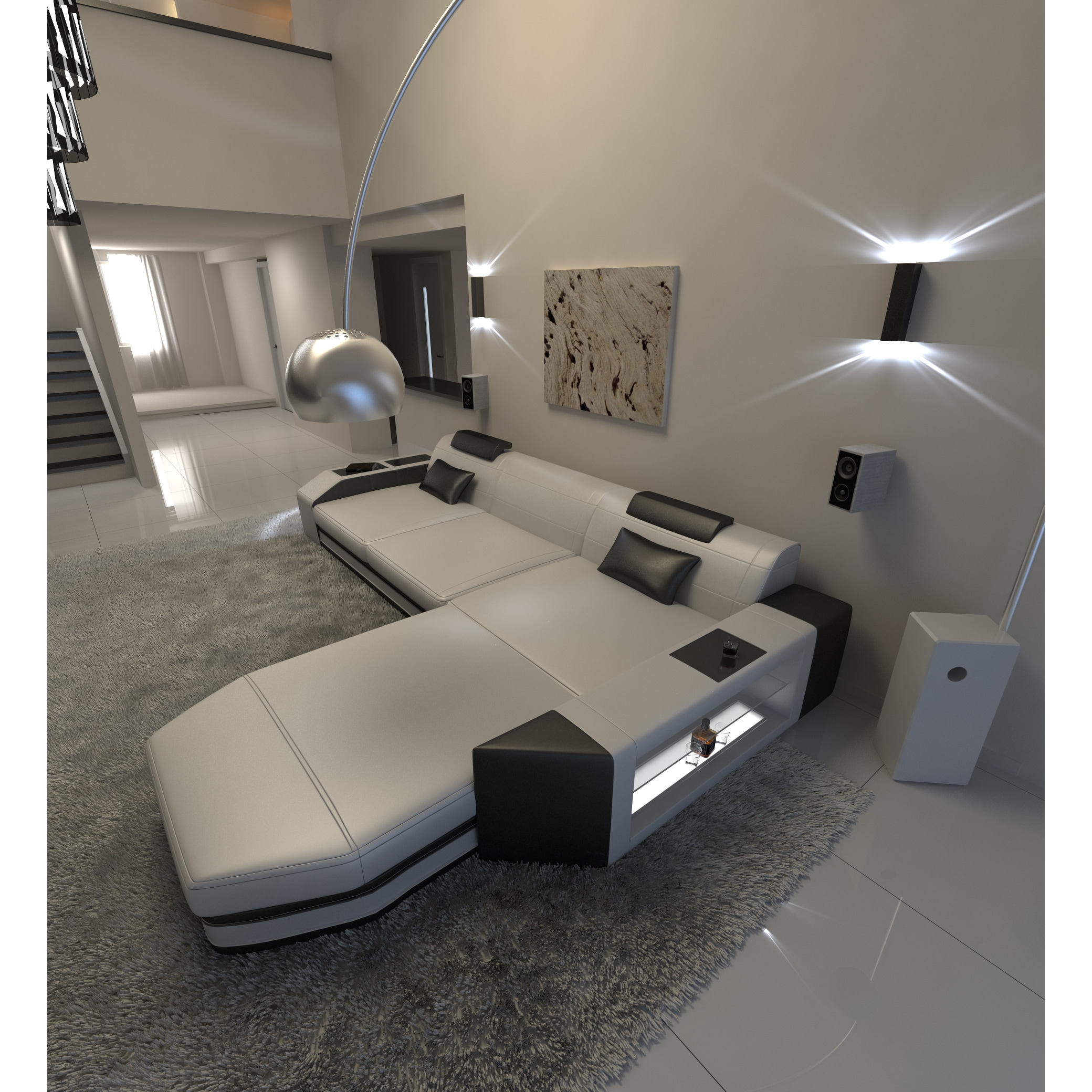 Modern L Shaped Sectional Sofa Dallas with LED Lights