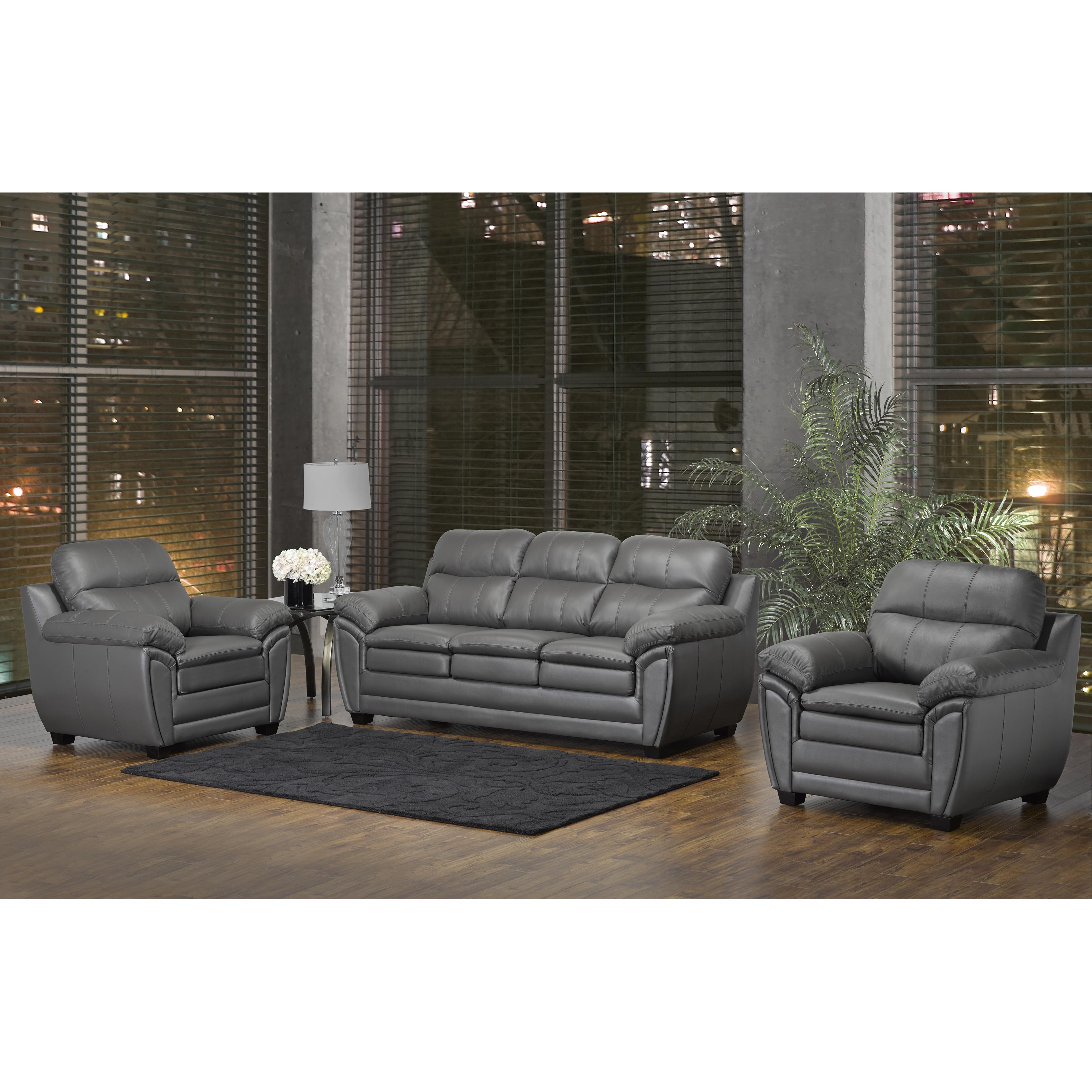 Marcus Premium Grey Top Grain Leather Sofa And Two Chairs Free  ~ Leather Sofa And Two Chairs