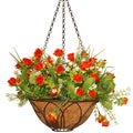 National Tree Company Lucky Roses Red 13-inch Hanging Faux Rose Basket