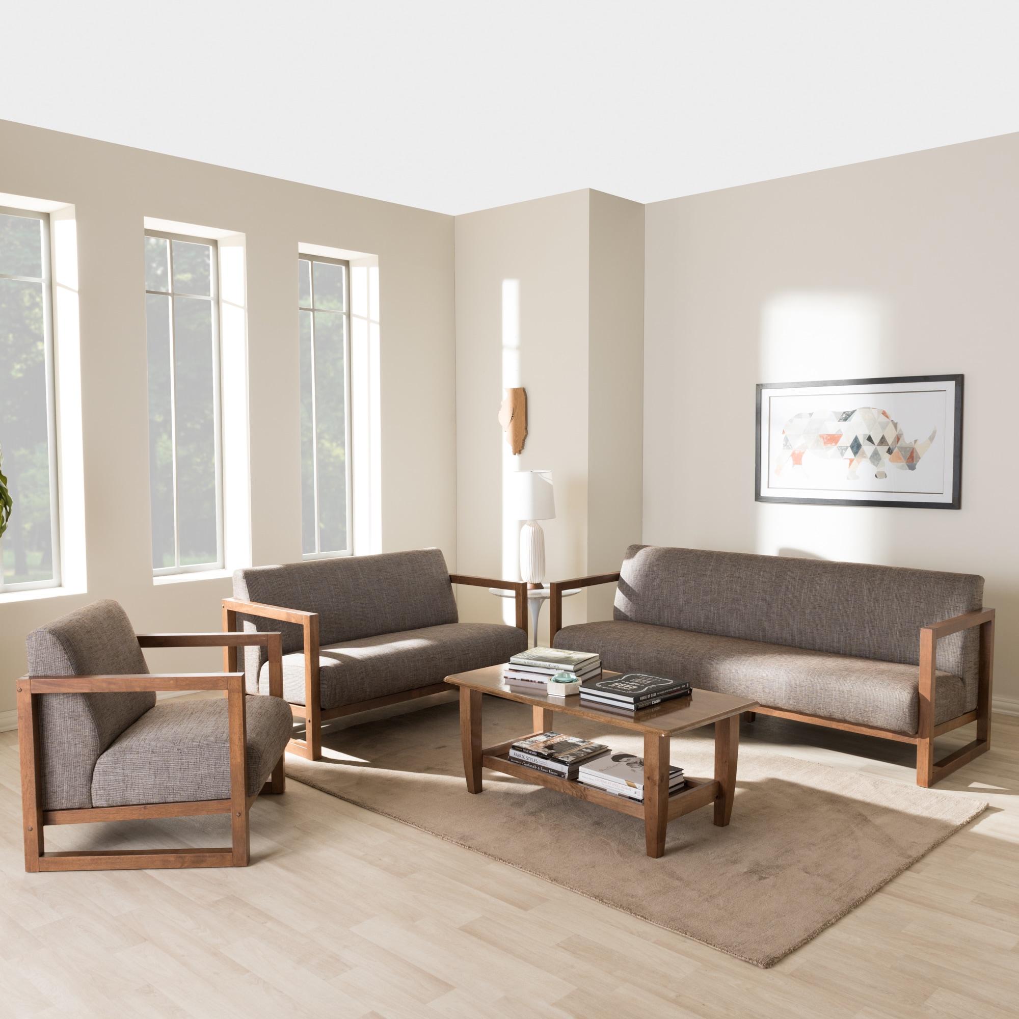 Baxton studio philomela mid century modern grey upholstered living room sofa set