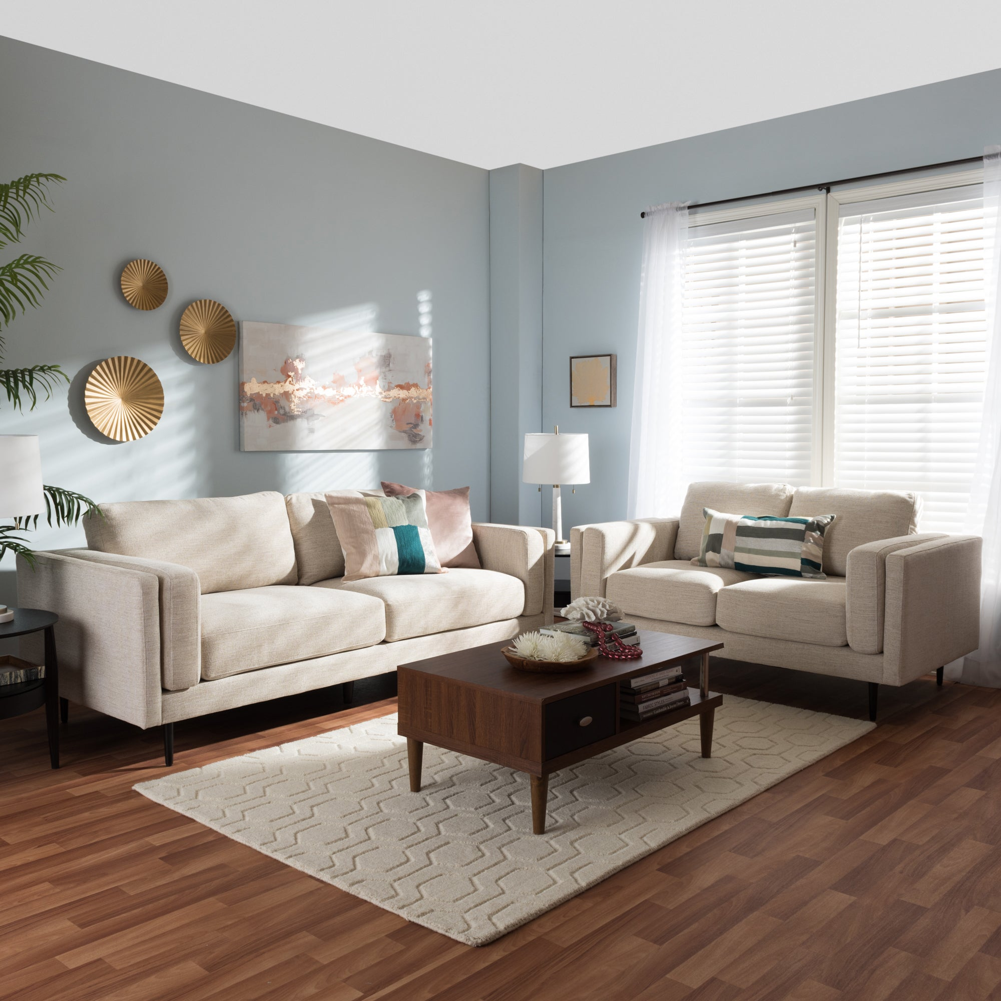 Baxton studio eurybia mid century modern upholstered living room sofa set