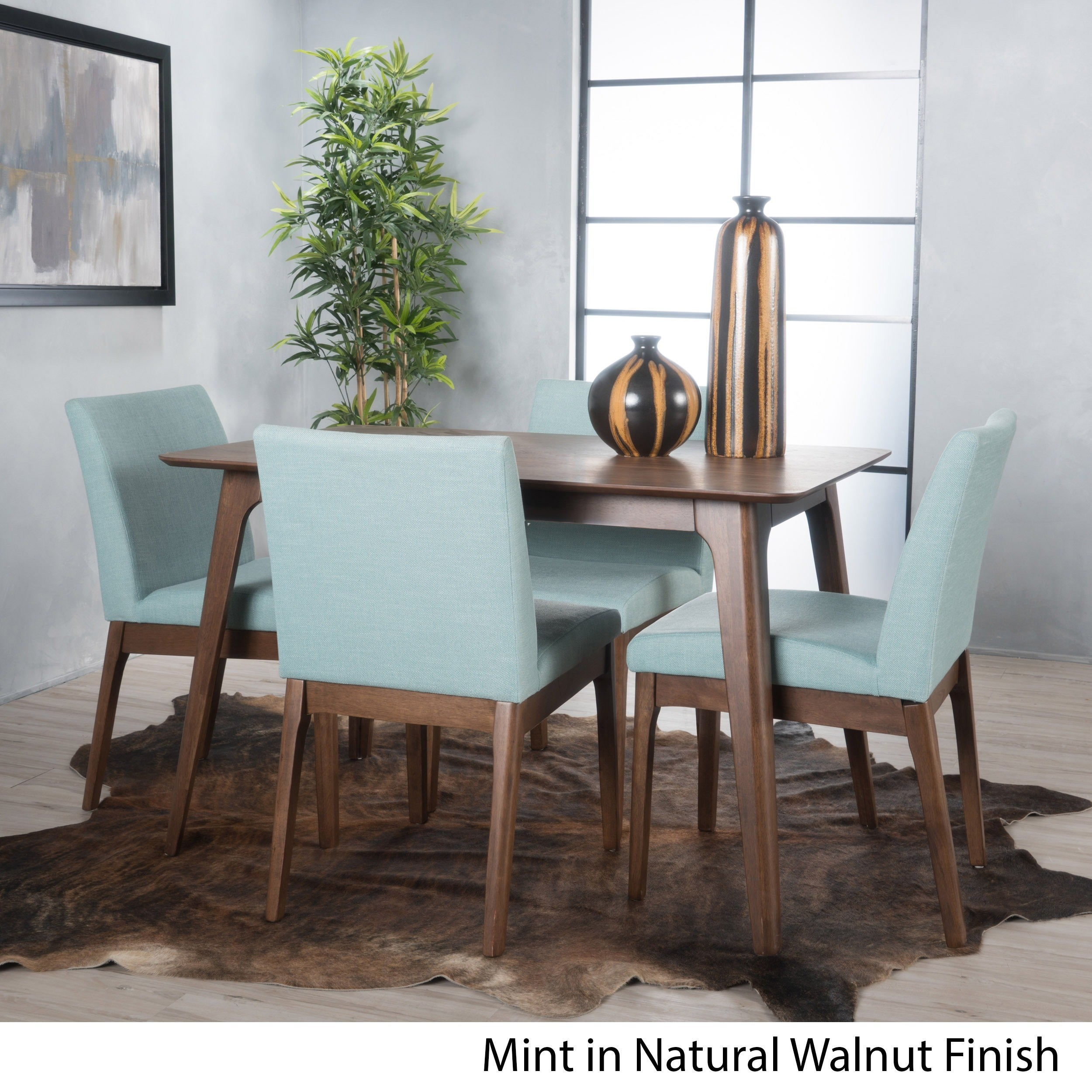 Kwame Mid-century 5-piece Square Dining Set by Christopher Knight ...