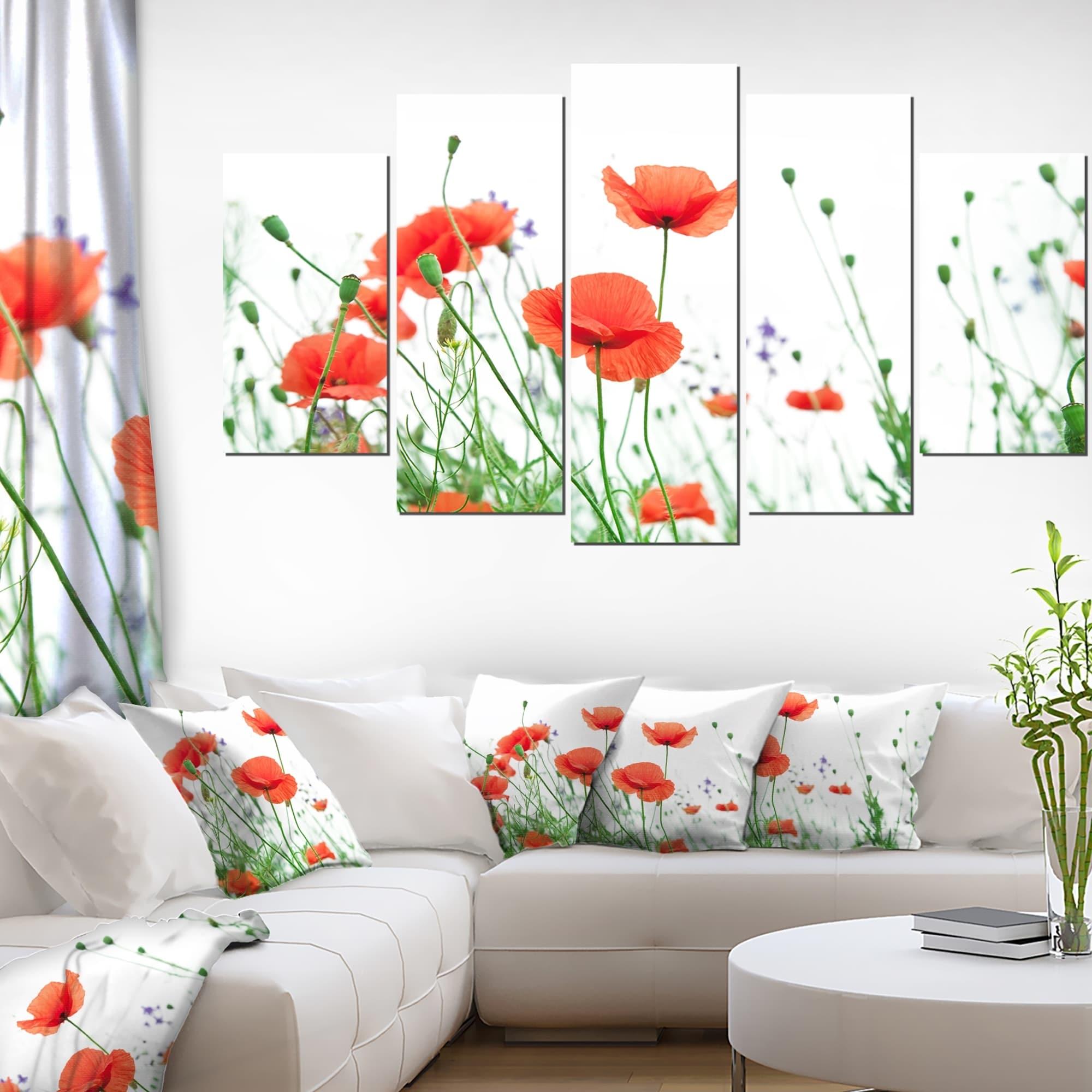 Shop Poppy Flowers On White Background Modern Floral Artwork On