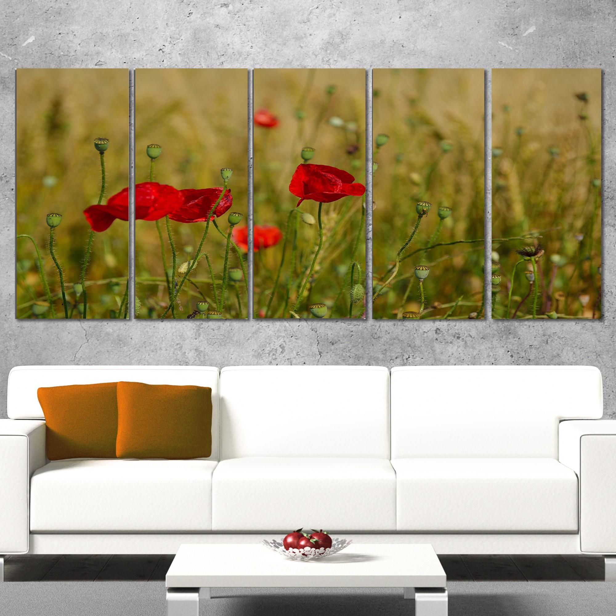 Shop Designart \'Red Poppy Flower Field Background\' Large Flower ...