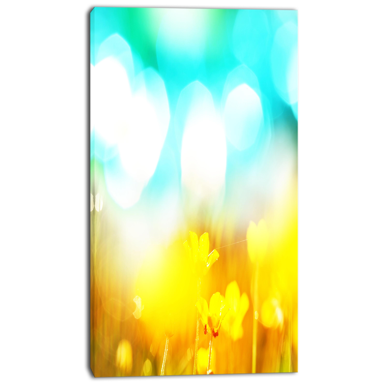 Designart \'Yellow Flowers on Blue Background\' Large Flower Wall ...