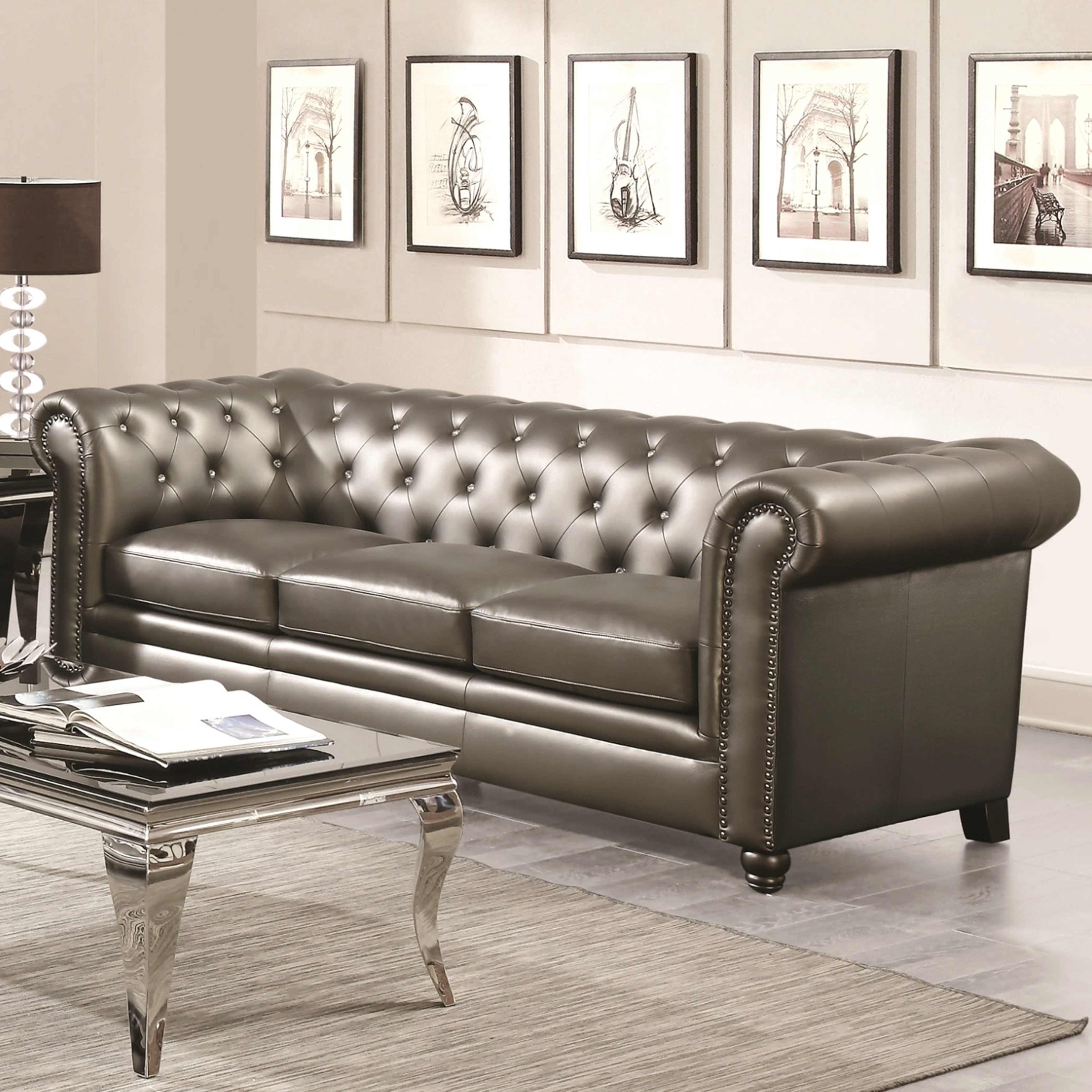 Shop Royal Mid-Century Sofa with Crystal Button Tufting Design and ...