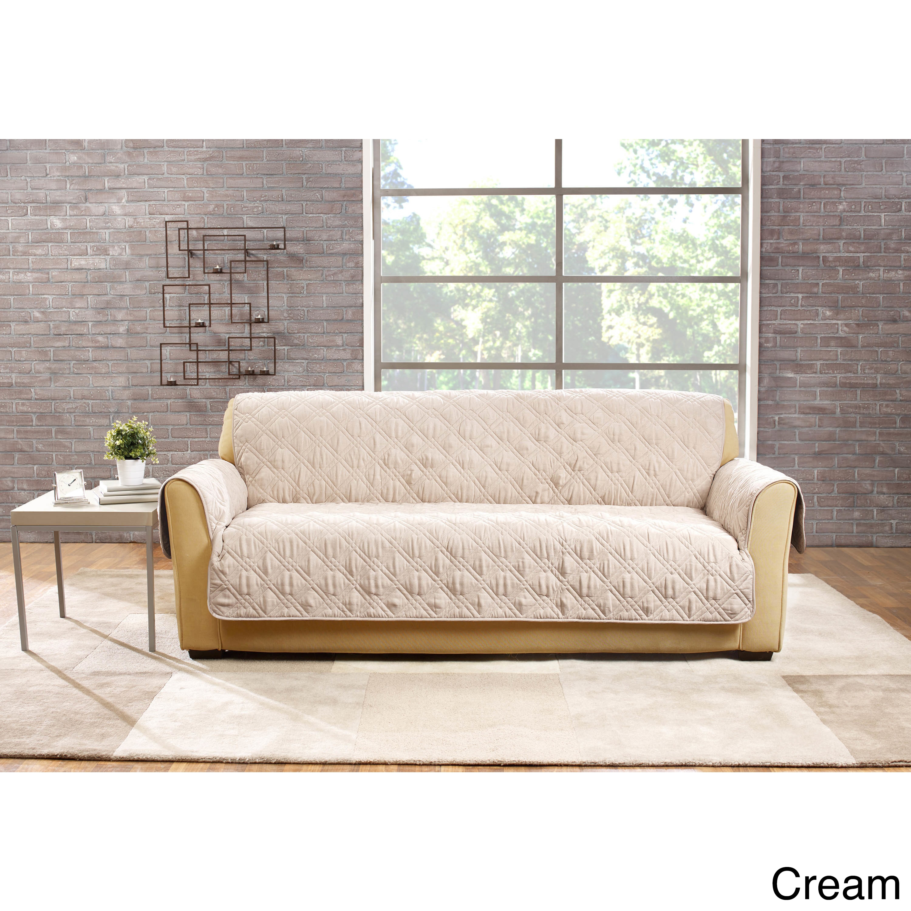 Sure Fit Deluxe Non Slip Waterproof Sofa Furniture Protector   Free  Shipping Today   Overstock   19973302