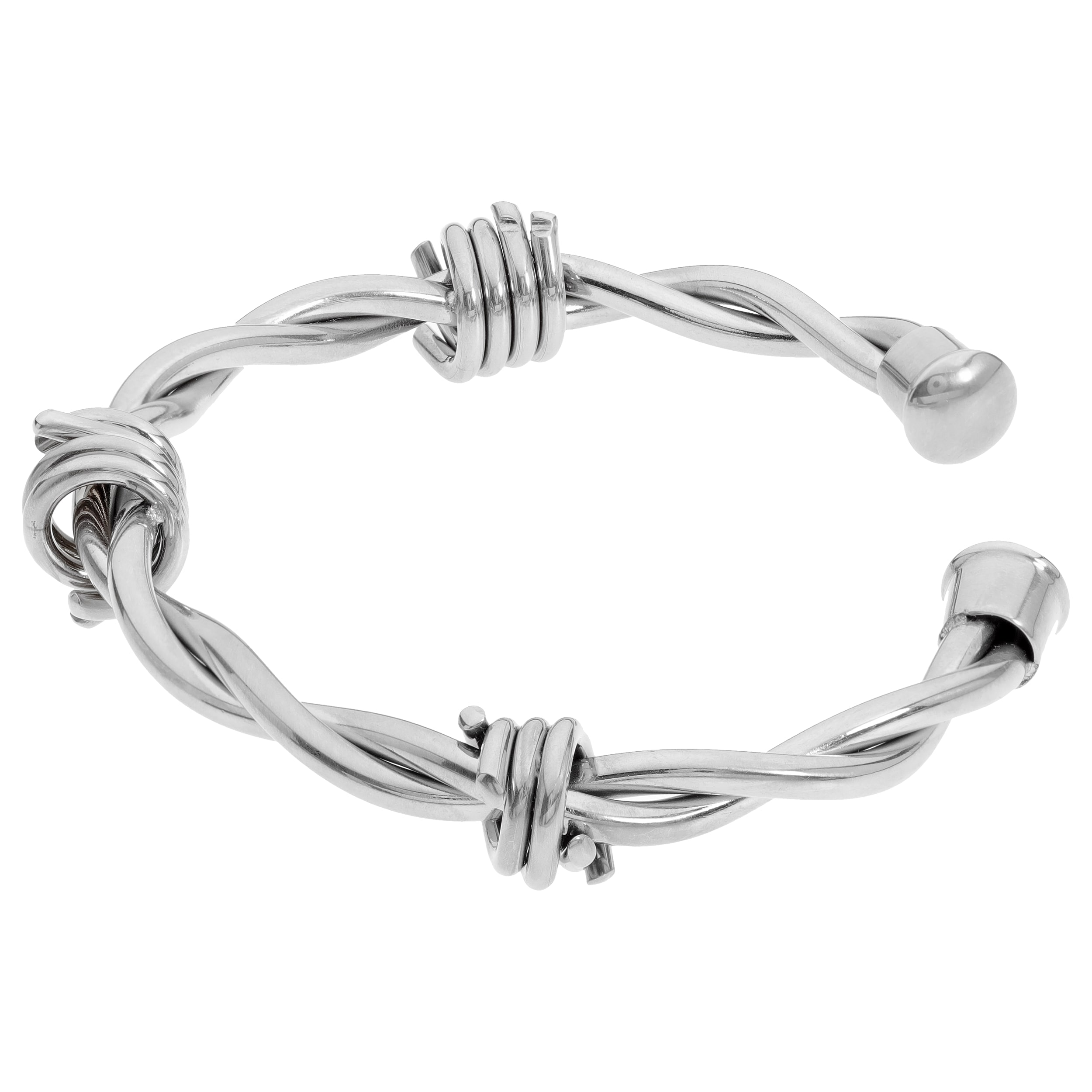 Shop Stainless Steel Barbed Wire Men\'s Bangle - On Sale - Free ...