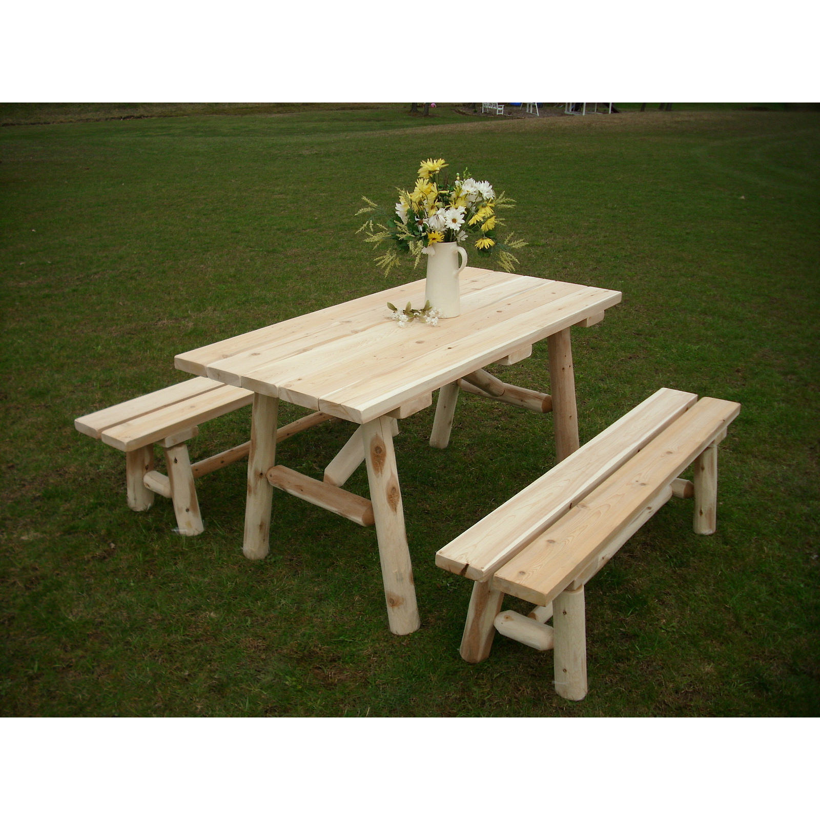 White Cedar Log 8 Foot Traditional Picnic Table With Detached Benches Free Shipping Today 13261311