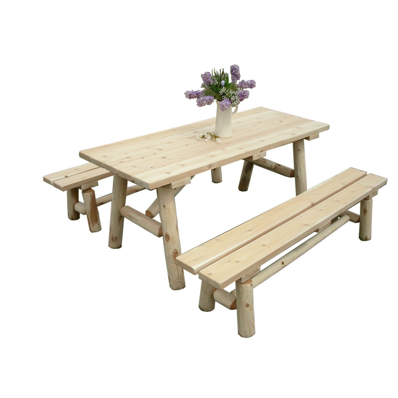 Shop White Cedar Log 8 Foot Traditional Picnic Table With Detached Benches    Free Shipping Today   Overstock.com   13261311