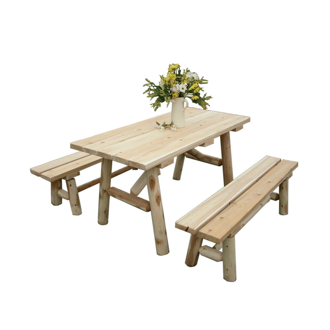 Shop White Cedar Log Foot Traditional Picnic Table With Detached - 96 picnic table