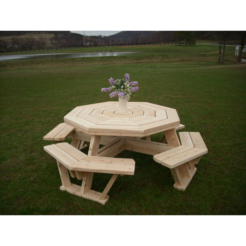 Shop white cedar octagon walk in picnic table unfinished free shipping today overstock com 13261327