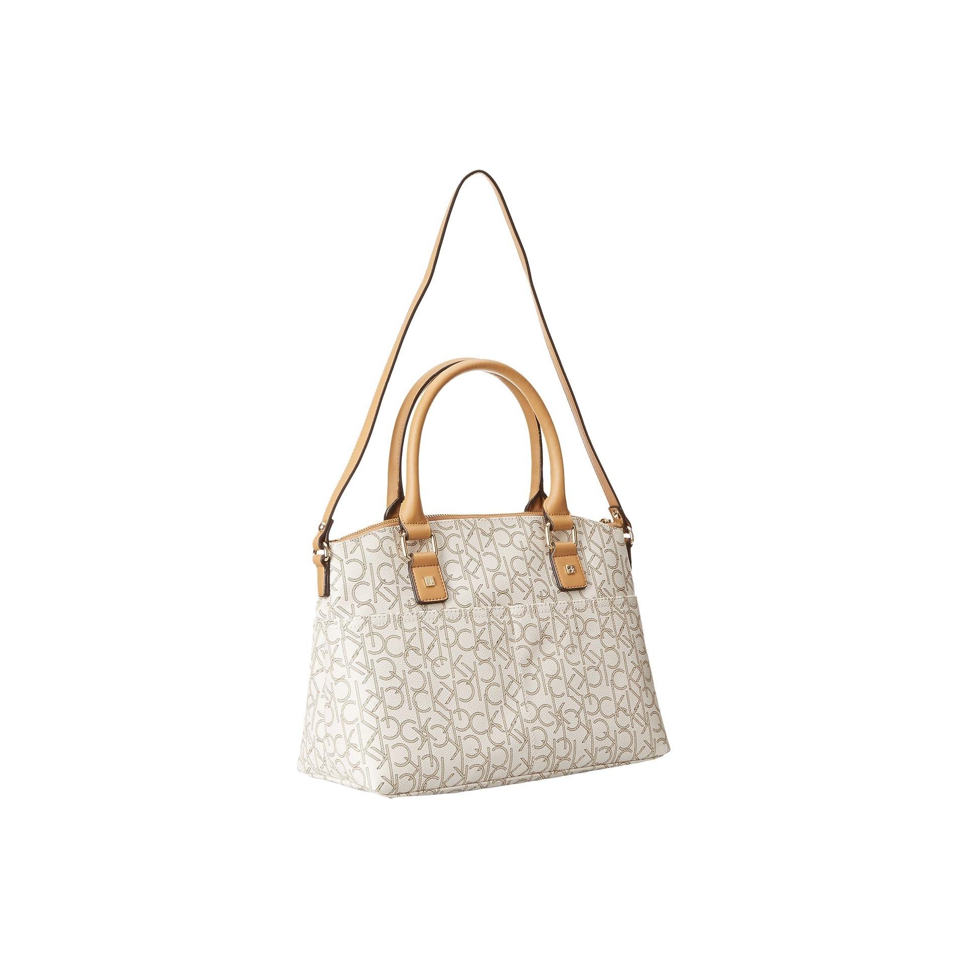 71028f2484 Shop Calvin Klein Hudson CK Monogram Almond/Khaki/Camel Faux Leather  Satchel Handbag - Free Shipping Today - Overstock - 13261378