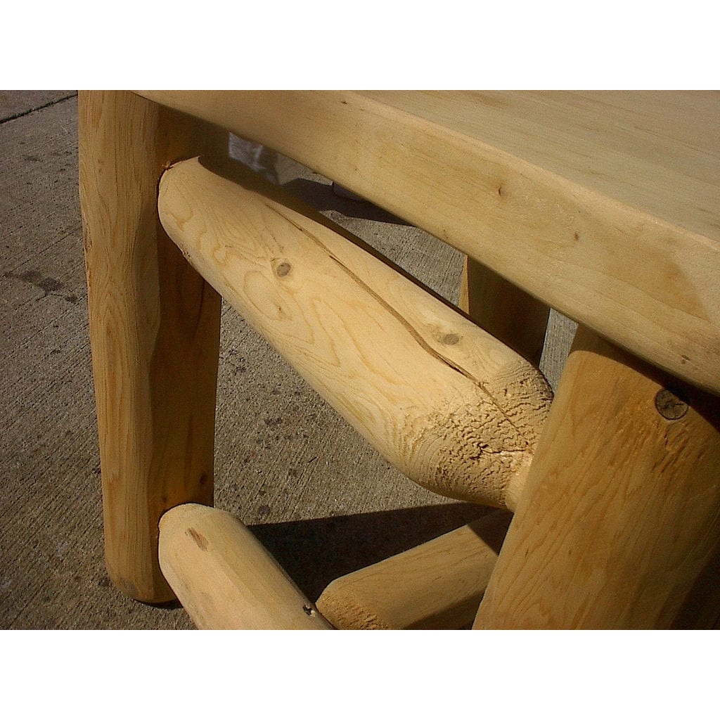 Unfinished White Cedar Log Rustic 5 Foot Porch Glider