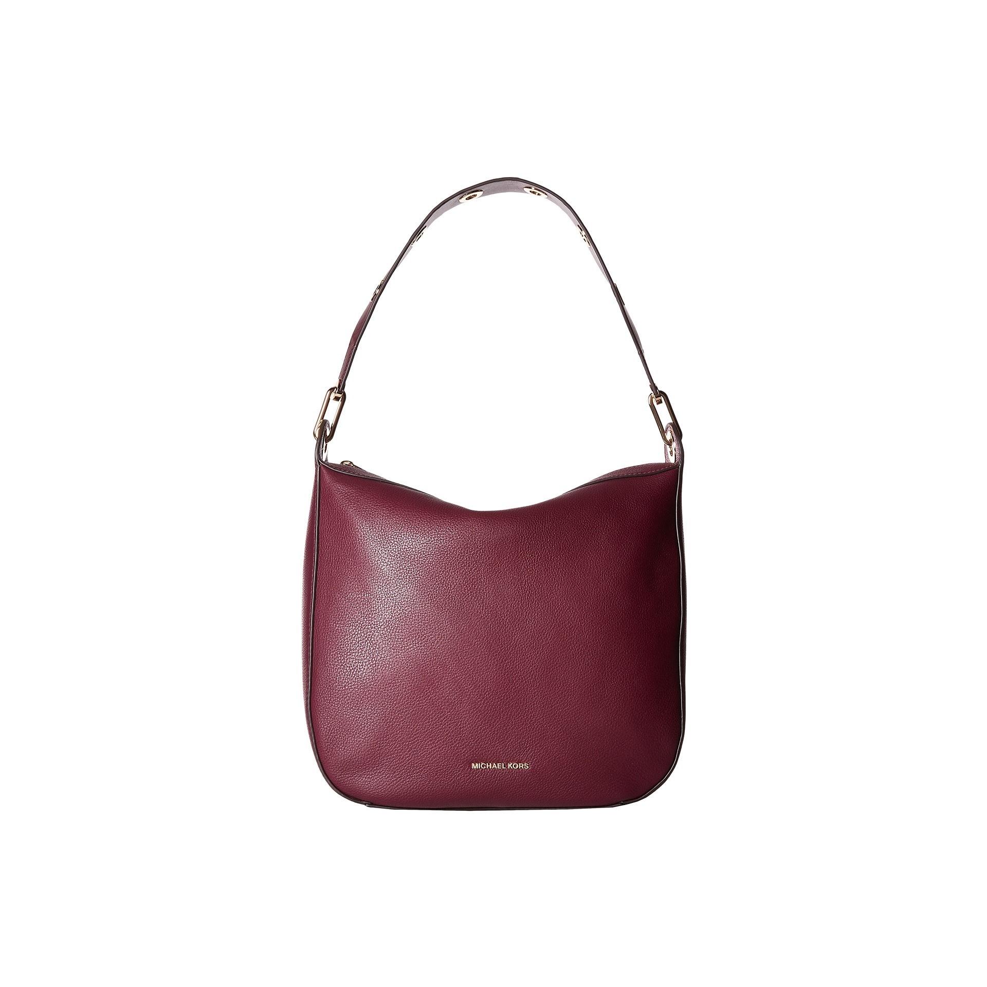 685afc51230d0 Shop Michael Kors Women s Raven Large Plum Leather Shoulder Handbag ...