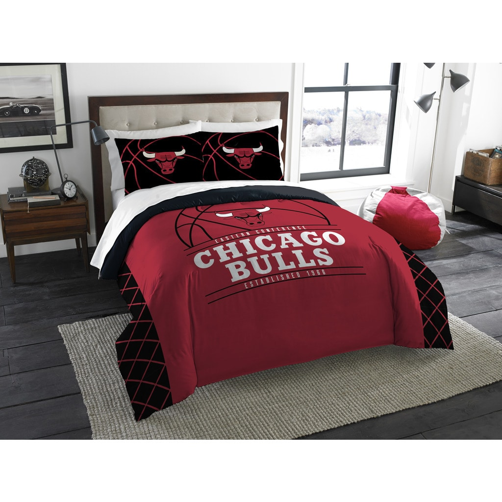Shop the northwest company chicago bulls red black white polyester reversible full queen 3 piece comforters set free shipping today overstock com