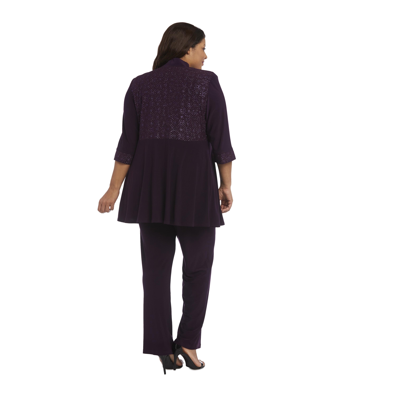 2023e125e3d Shop R M Richards Purple Polyester Spandex Plus Size Glitter Pant Set -  Free Shipping Today - Overstock - 13273053